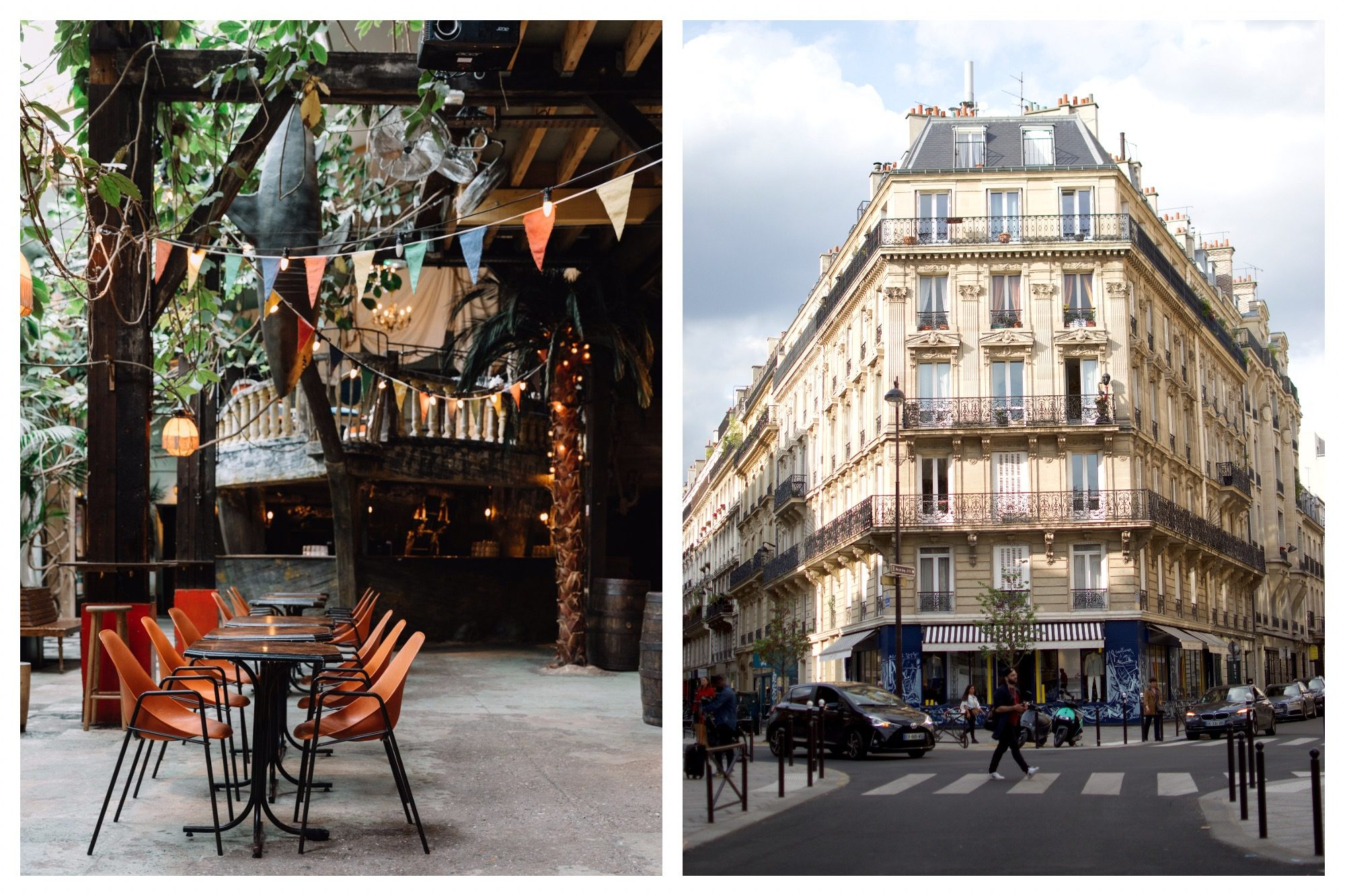Inside the bohemian Comptoir Général bar in Paris on the Canal Saint Martin (left). A street view of a typical white-stone Parisian residential building (right).