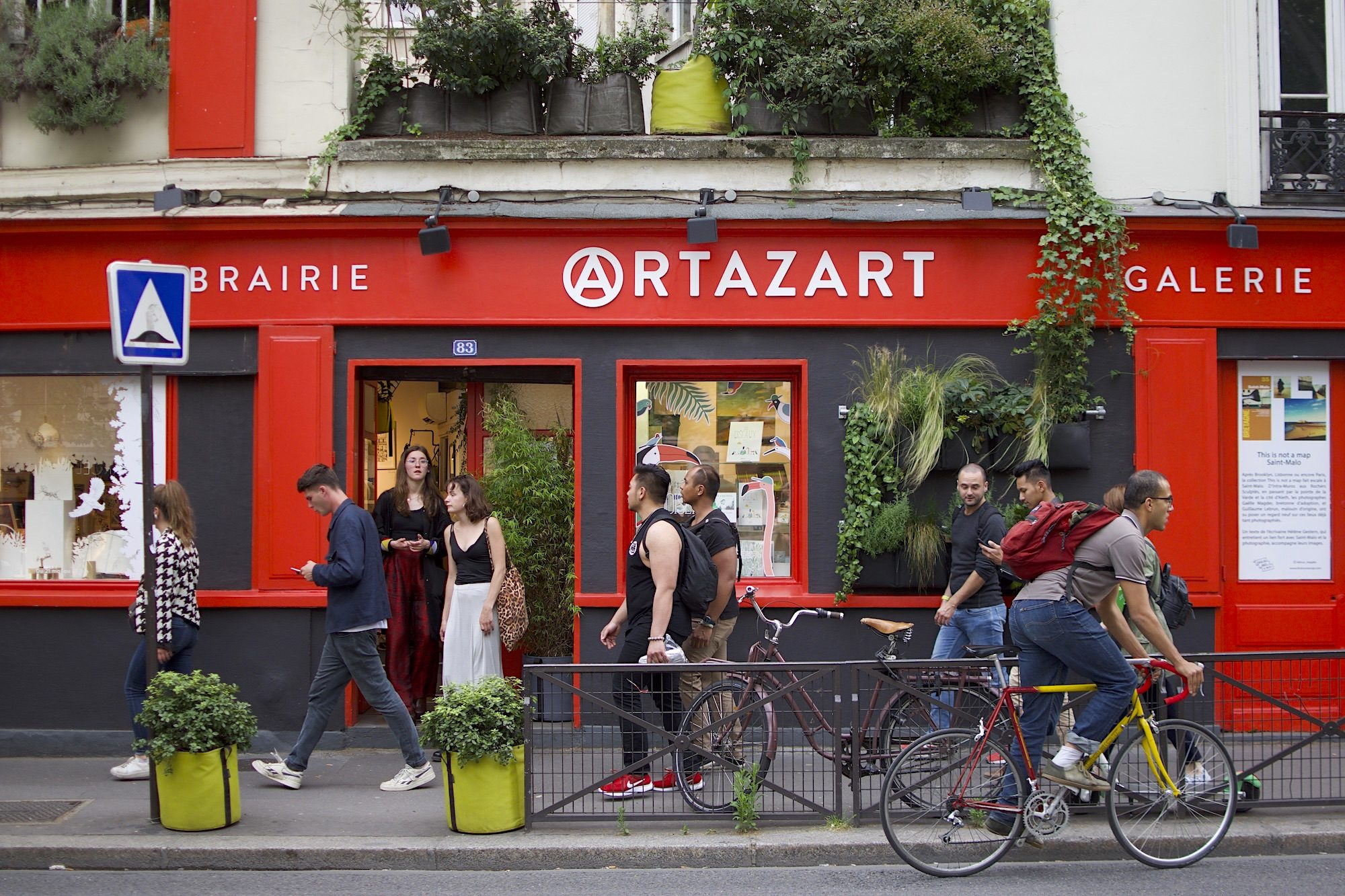 Artazart, a popular arty bookshop along the Canal Saint Martin in Paris.