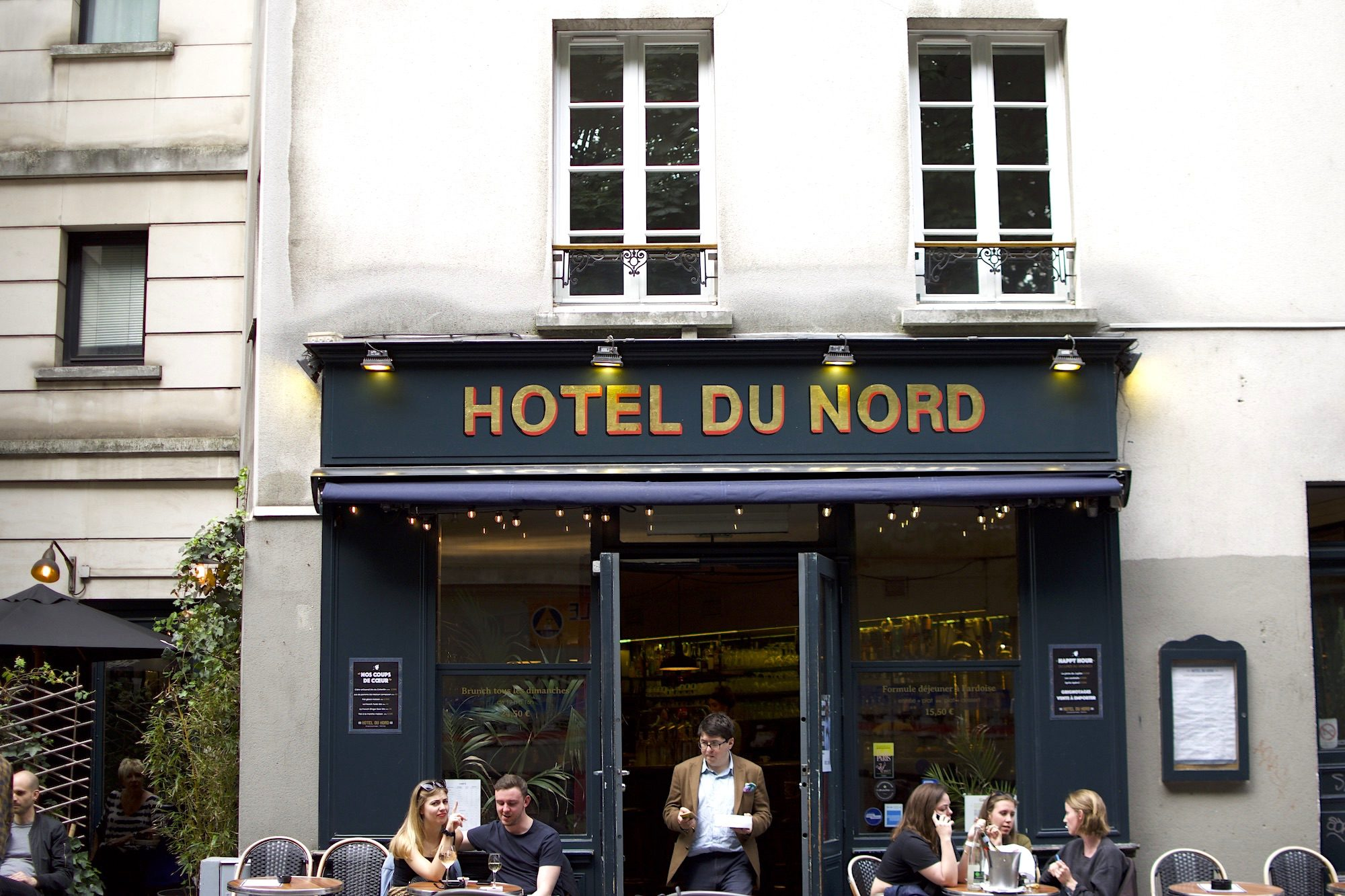 Outside iconic Parisian restaurant the Hotel du Nord on the Canal Saint Martin.