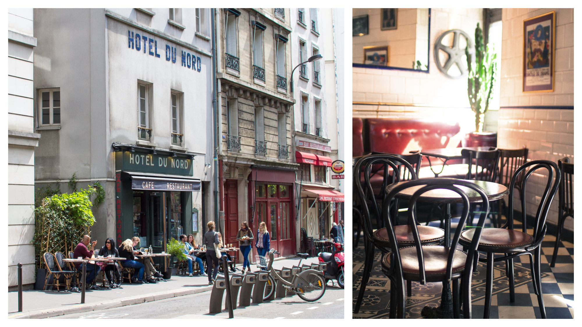 The Hotel du Nord restaurant on the banks of the Canal Saint Martin in Paris (left). Inside the restaurant there are wooden bistro tables and chairs on chequered floors (right).