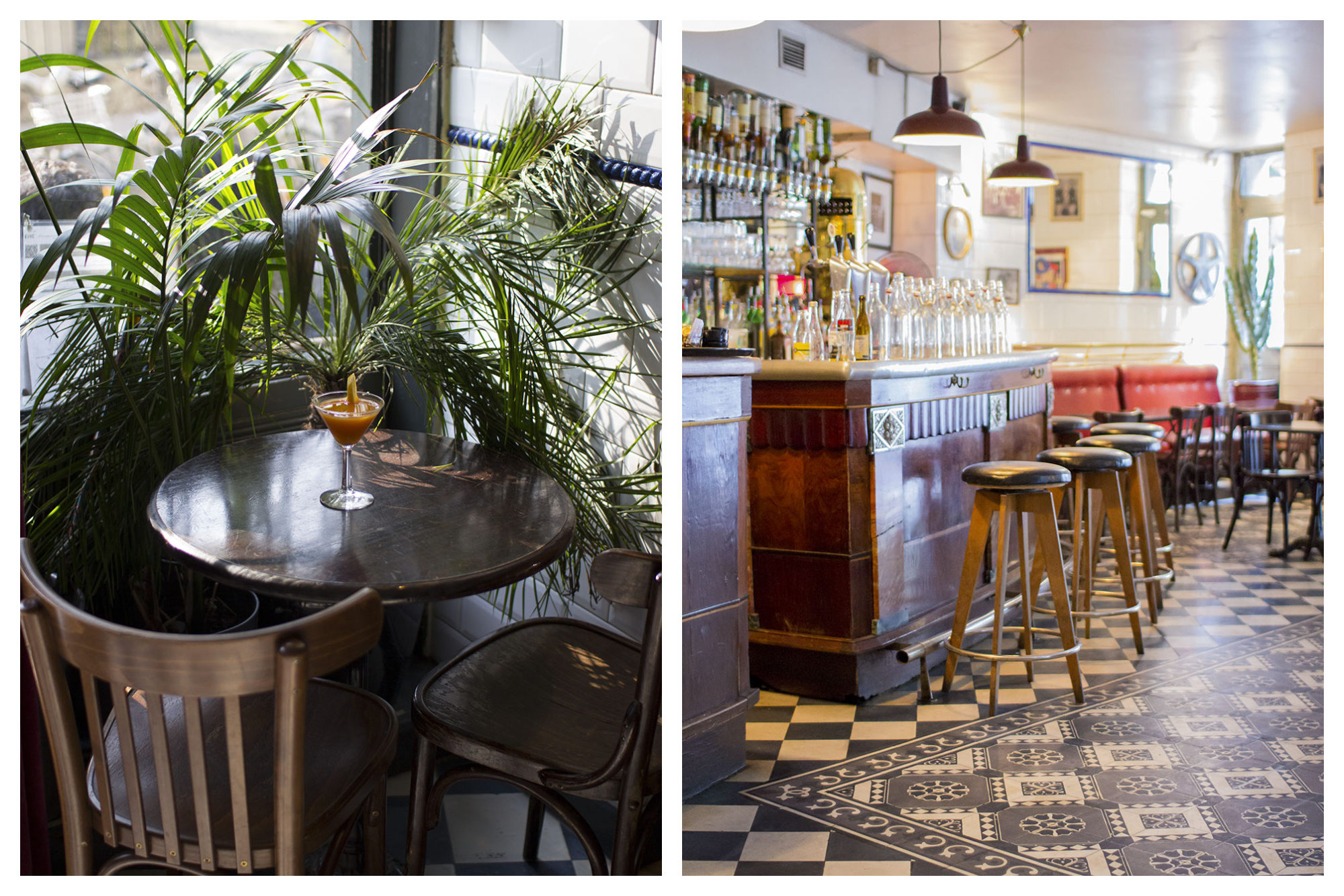 Inside iconic French restaurant Hotel du Nord which has wooden bistro tables and chairs and plant life (left) as well as bar stools lined up at the bar on the lower level of the space (right).