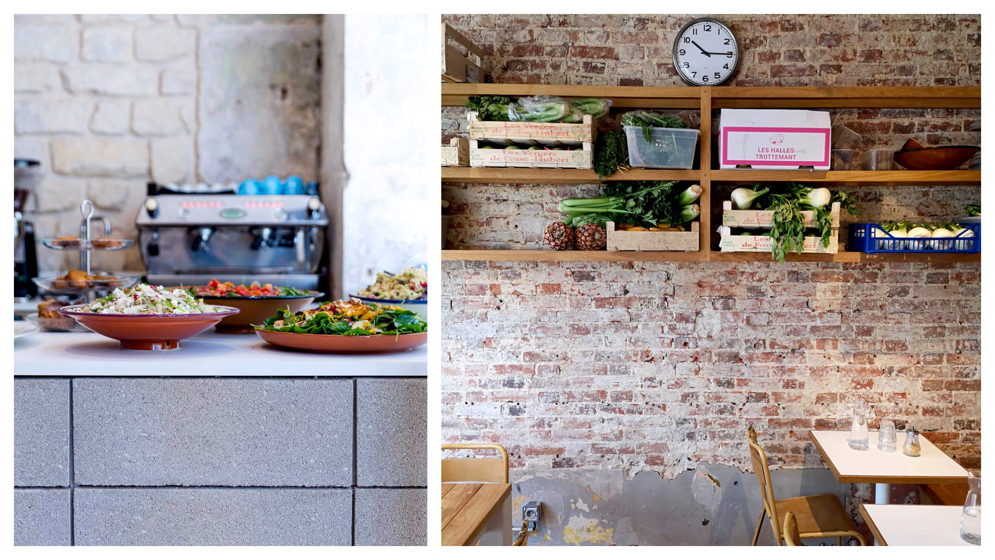 Big bowls of salads on the counter of IMA, a veggie café in Paris (left) and its exposed-brick interiors lined with crates of fresh produce on wooden shelves (right).