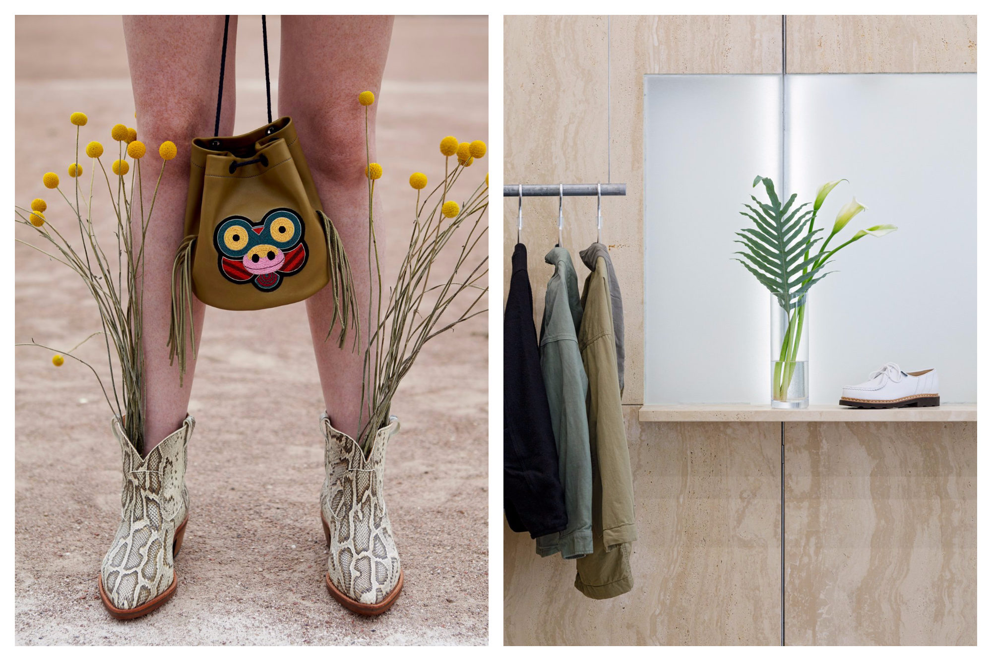 The legs of a woman wearing snaskin boots with dried yellow flowers planted inside them, carrying a bag between her knees (left) by Macon & Lesquoy on the Canal Saint Martin in Paris. A selection of jackets and shoes arranged inside the pared-down The Next Door store (right).