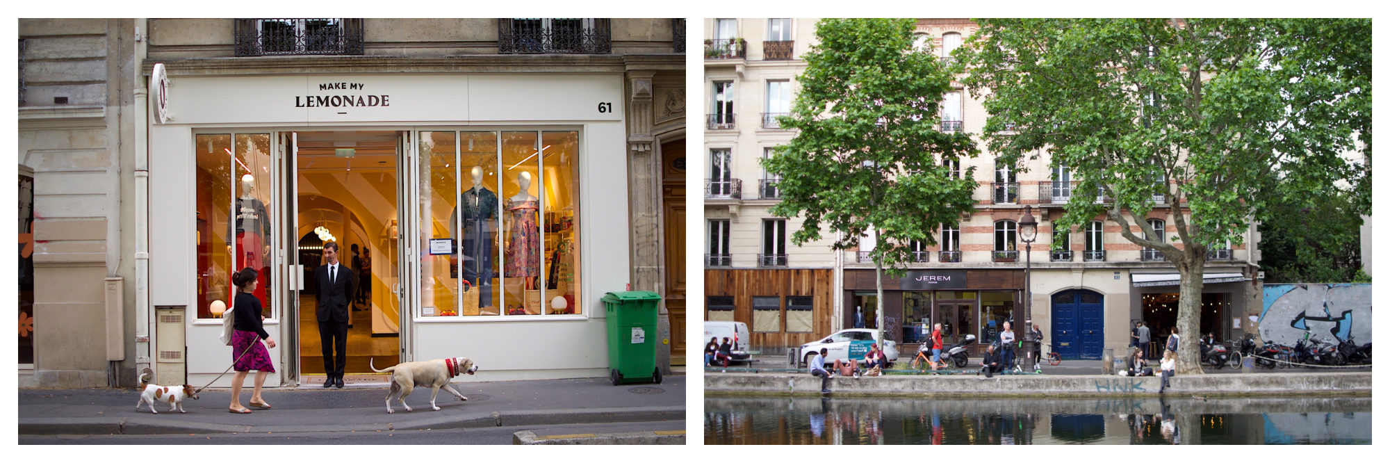 Outside Make My Lemonde clothing store on  the Canal Saint Martin (left). A view of the canal in Paris (right).