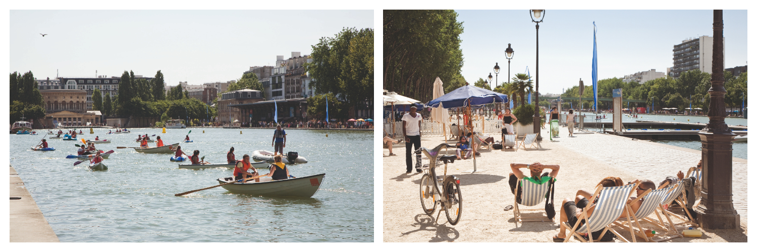 The Canal de la Villette and people in row boats (left). Parisians relaxing at Paris Plage on the Canal de l'Ourcq in summer (right).