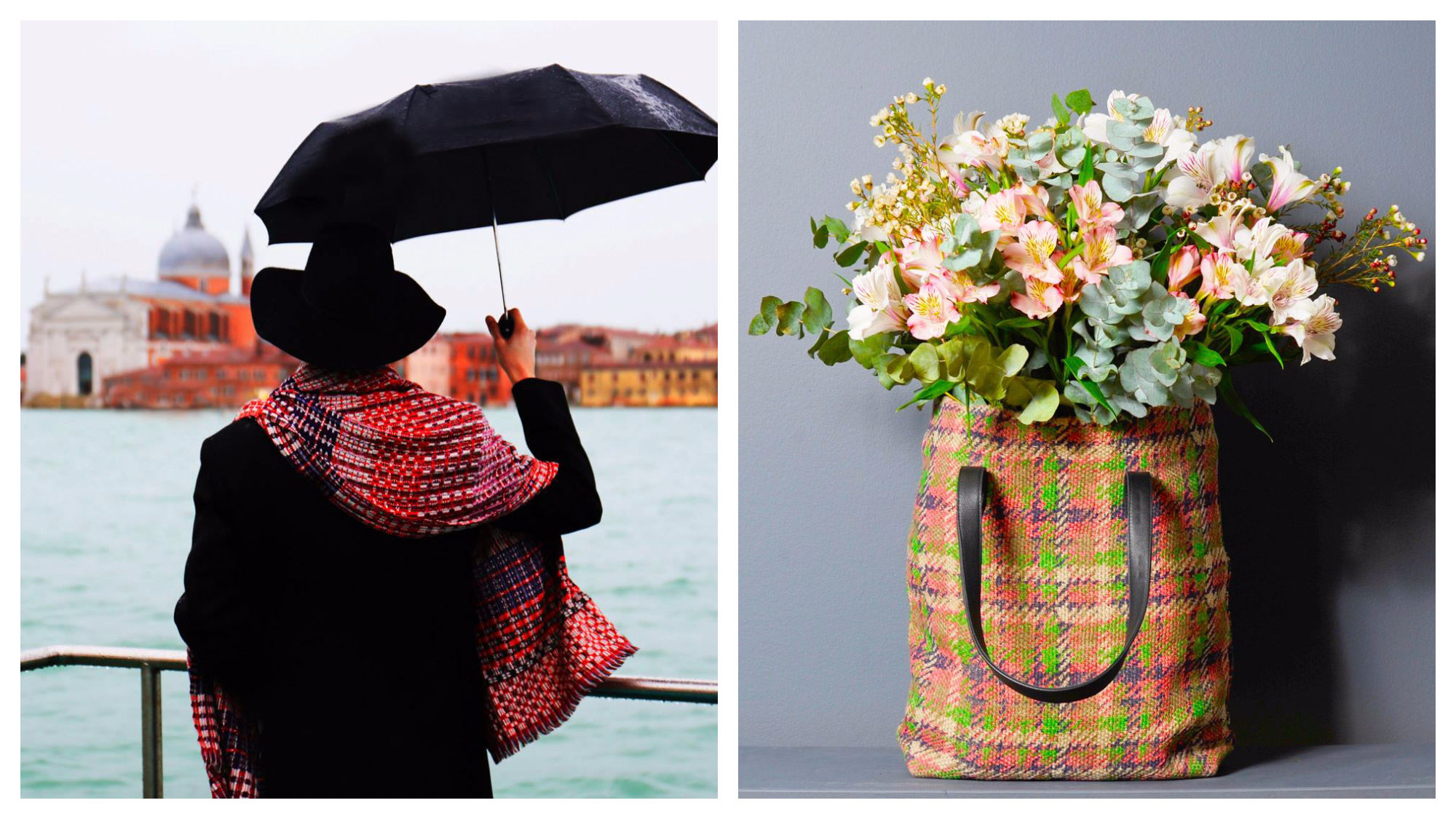 Accessories by French brand EPICE like a colorful red scarf worn by a woman in black standing on the canals of Venice (left) and tartan handbag with a bun of flowers inside it (right).