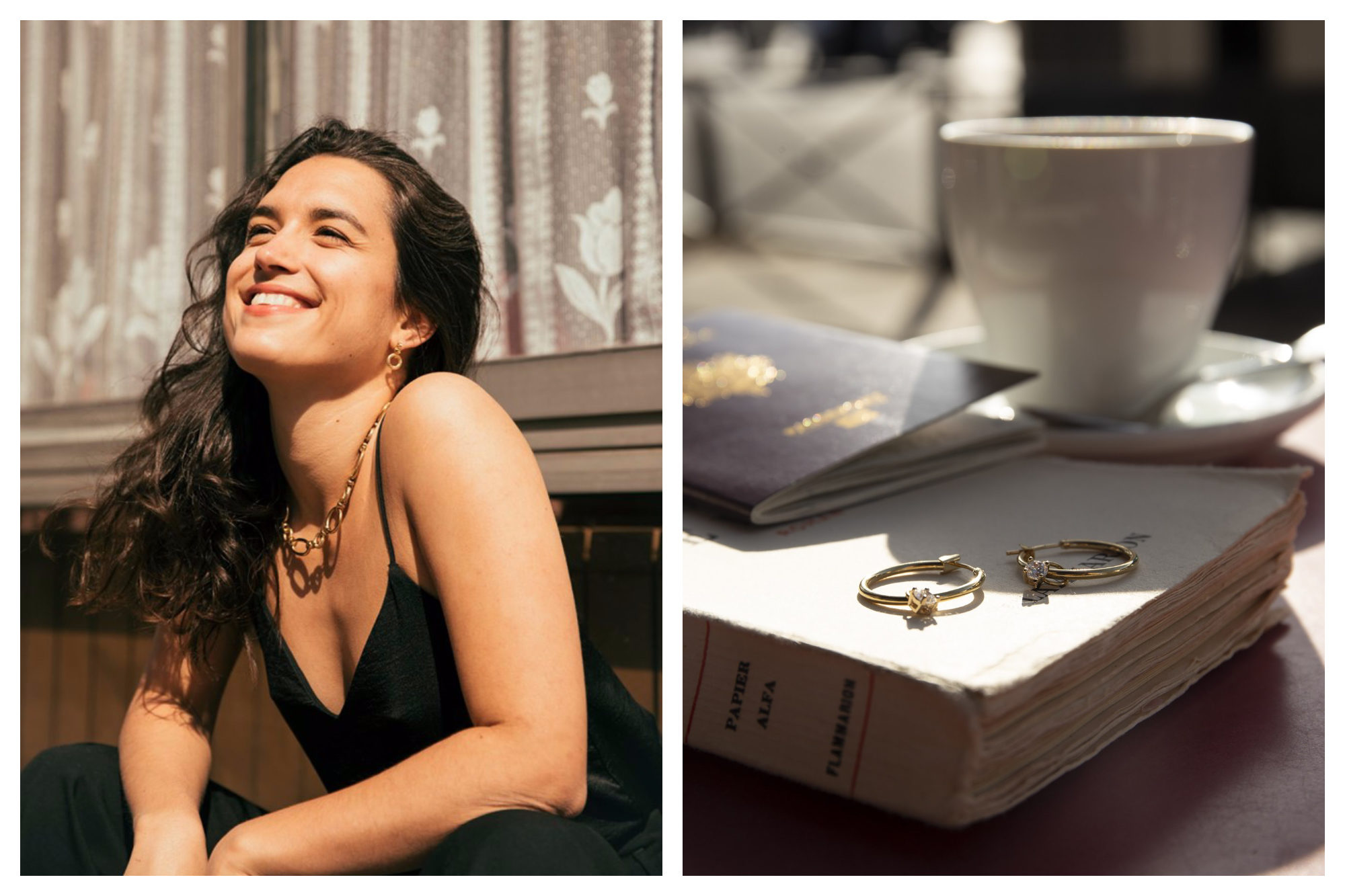 A girl smiling in the sunshine, wearing a gold chain Louise Damas necklace (left). Two gold rings resting on a book with a passport and a cup of coffee in the background (right).