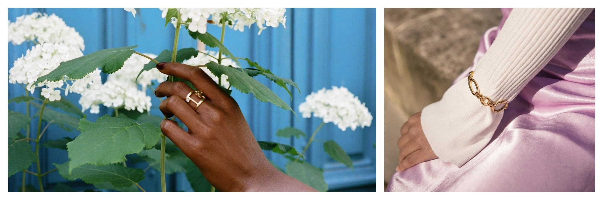 Jewelry by Parisian designer Louise Damas like a ring (left) and a chain bracelet (right).
