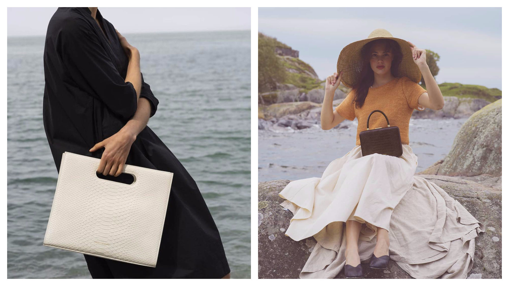 White embossed leather bag held by a model dressed in a black kaftan (left) and a brown handbag sat on a model's knee (right), both by Tammy and Benjamin.