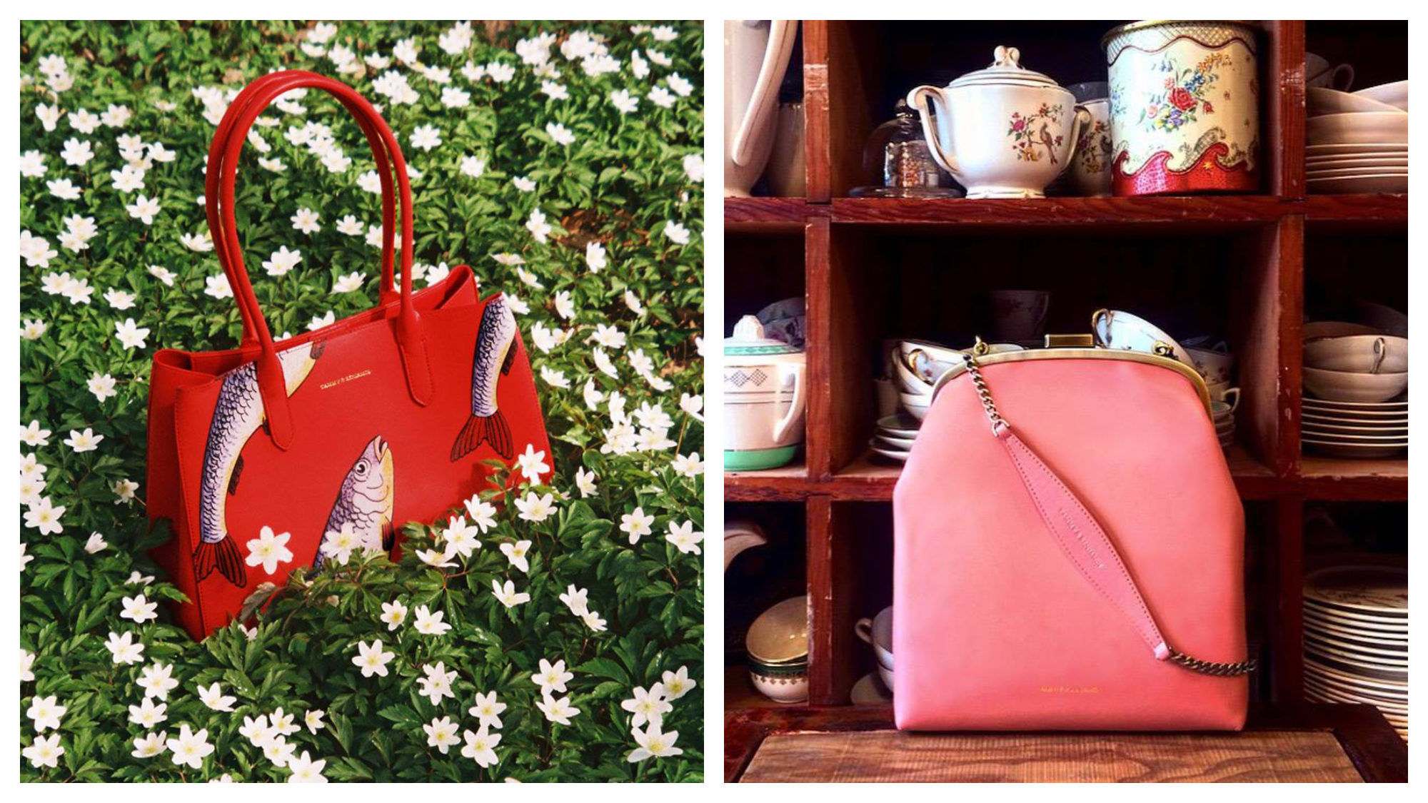A red Tammy and Benjamin handbag with fish painted on it (left) and a coral chain purse (right) are among our favorite Paris fashion accessories.