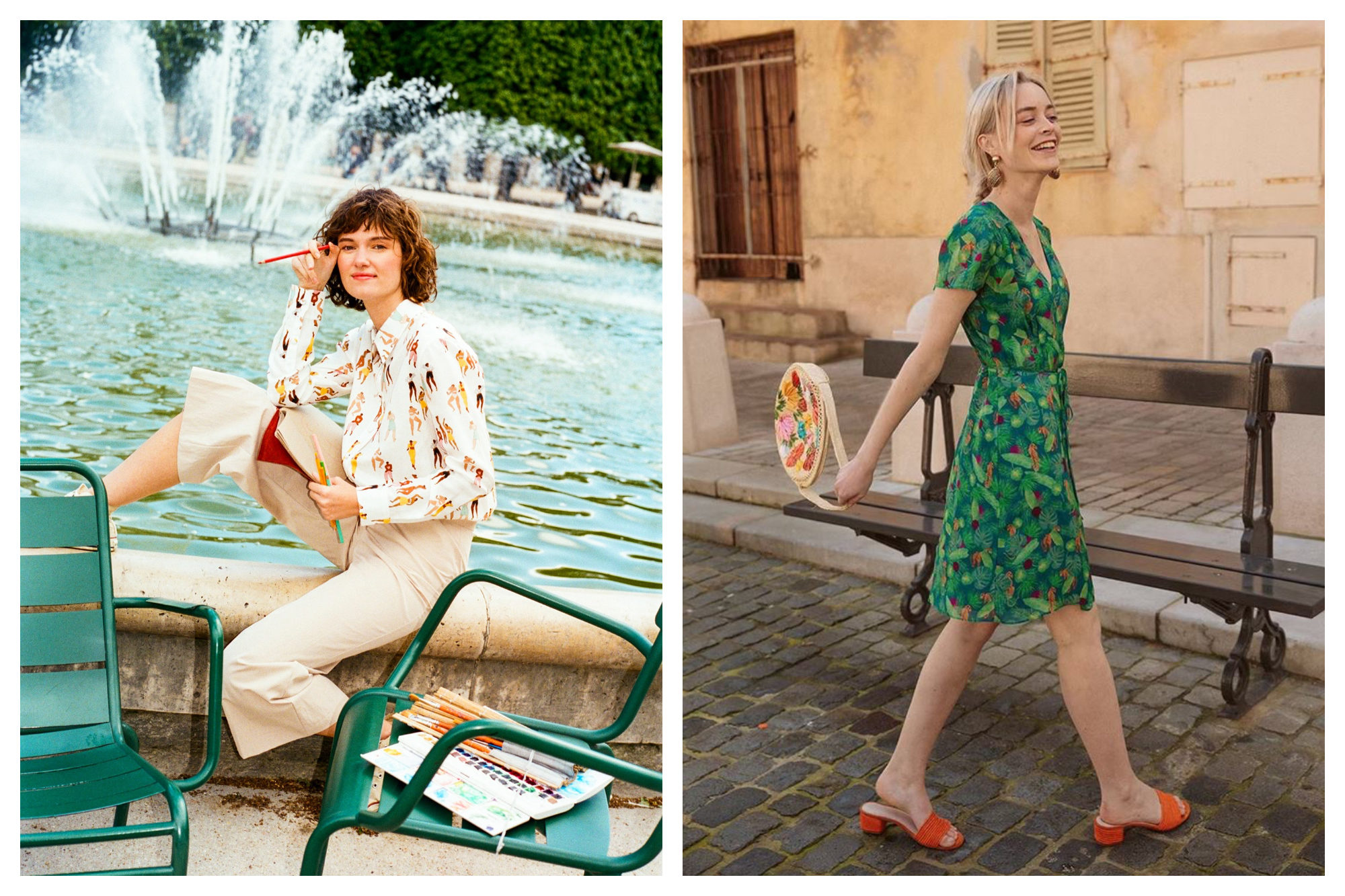 A woman sits on the edge of the fountain at Jardin des Tuileries in Paris wearing a printed cream shirt and beige trousers (left). A woman walks through the cobblestone streets of Paris wearing a deep green knee-length dress and orange open-toed mules (right). Both outfits are from one of our favorite fashion brands Soi Paris.