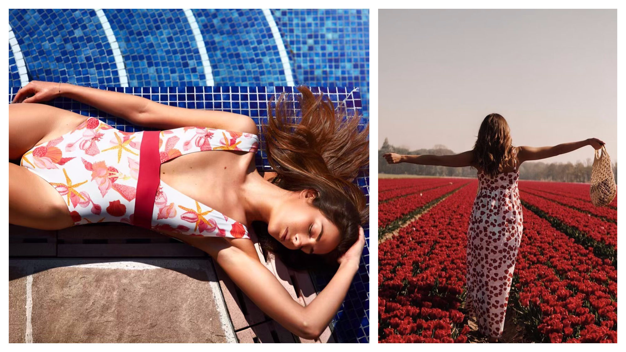 A woman wears a red and white seashell themed swimsuit as she lies down by a blue pool (left). A woman seen from the back wears a long heart-print summer dress and raises her arms as she walks through red flower fields (right). Both outfits are from one of our favorite fashion brands Soi Paris.