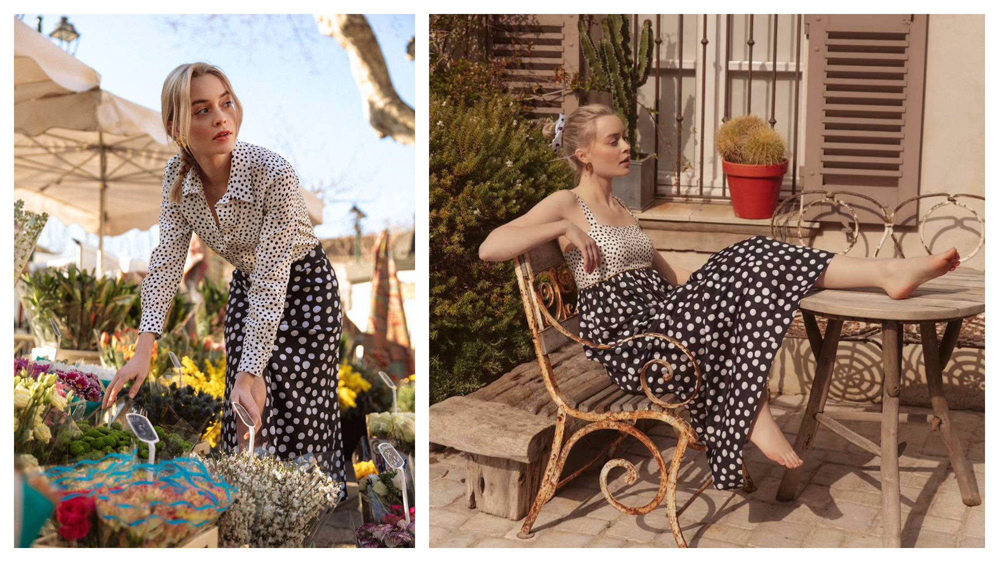 A woman wearing a polka dot white shirt and long polka dot skirt from influencer Jeanne Damas' French fashion brand Rouje, bending down to look at flowers at a market in Paris (left). The same woman wearing a white polka dot vest and long black polka dot skirt, sitting on an old wooden bench in the courtyard outside her apartment in Paris.