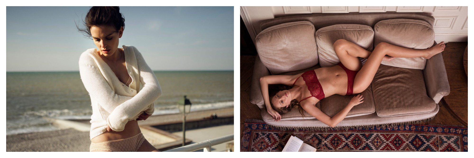 A woman about to take off a cozy  cross-over cream cardigan as she sits on the beach (left). A woman wearing latch red underwear, lying on a couch, by French fashion brand Ysé (right).