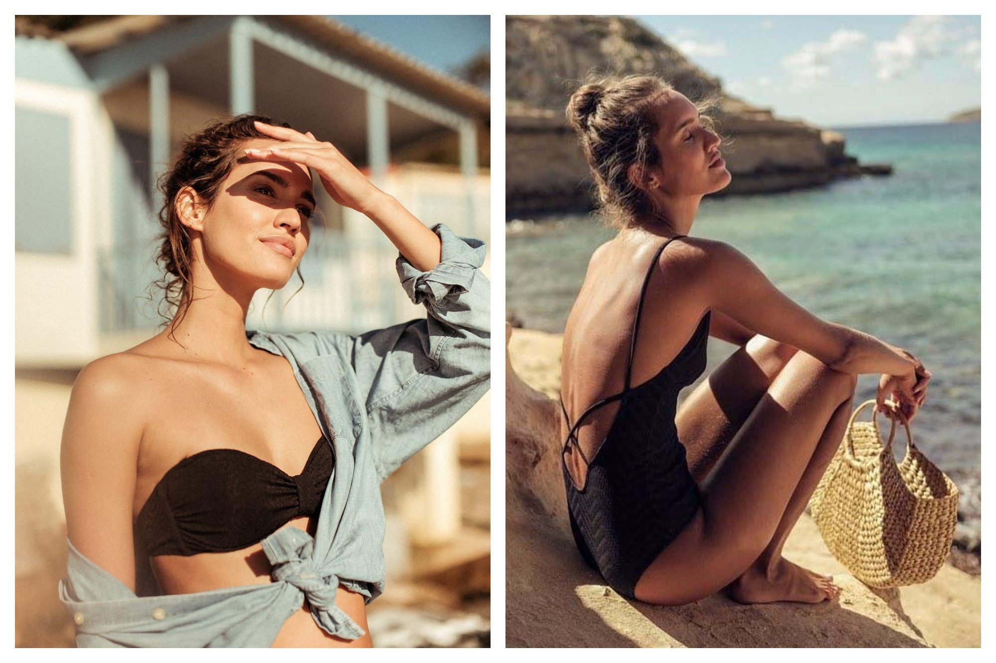 A woman on a beach wearing a strapless bikini top with a pale blue shirt off the shoulder (left). The same woman sitting on the rocks close to the water wearing a cross-back one-piece swimsuit and holding a straw handbag by French fashion brand Ysé (right).