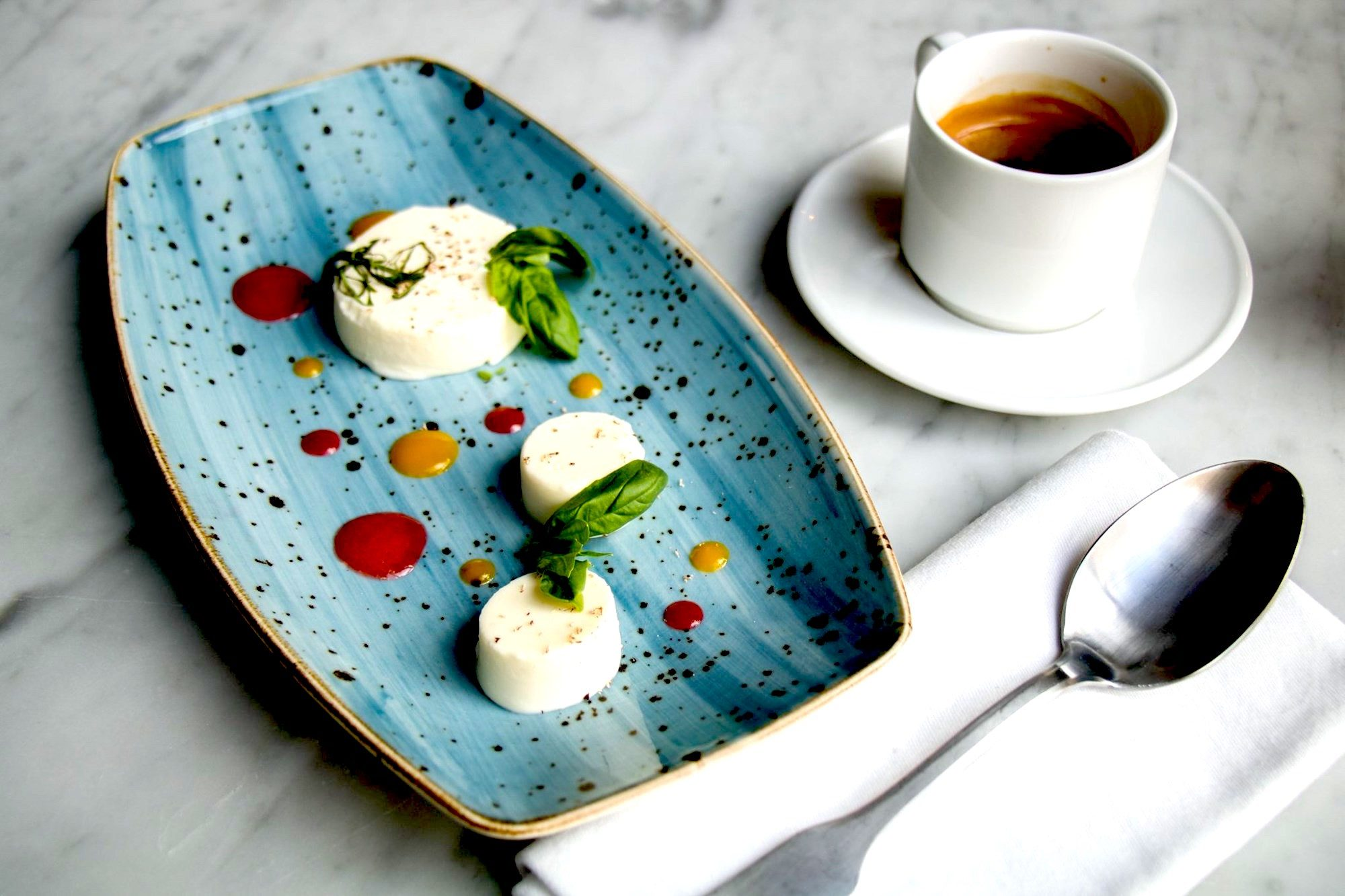 Dessert and coffee at Le Relais restaurant in Paris.
