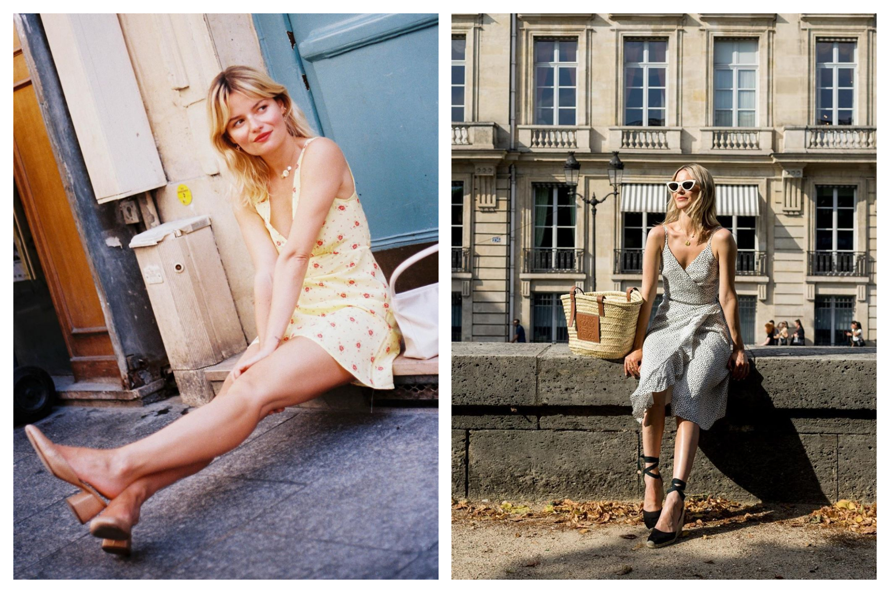 Fashion influencer Sabina Socol in summer in Paris, wearing a flower-print dress, sitting on a doorstep (left). Infuencer Rue Rodier sitting on a ledge close to the River Seine, wearing a light summer dress and espadrilles (right).