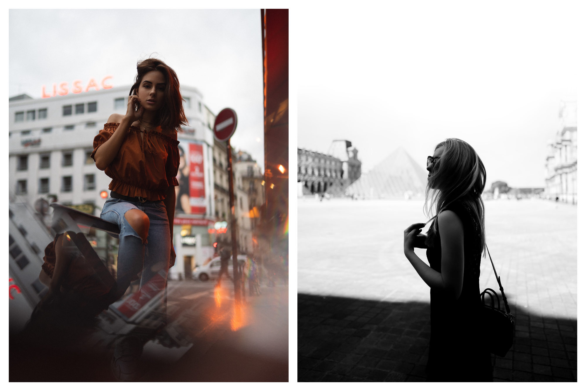 A young woman in Paris dressed in an off-the-shoulder rust colored top and ripped jeans (left). A young woman visiting Paris in the summer, with the Louvre's glass pyramid in the background (right).