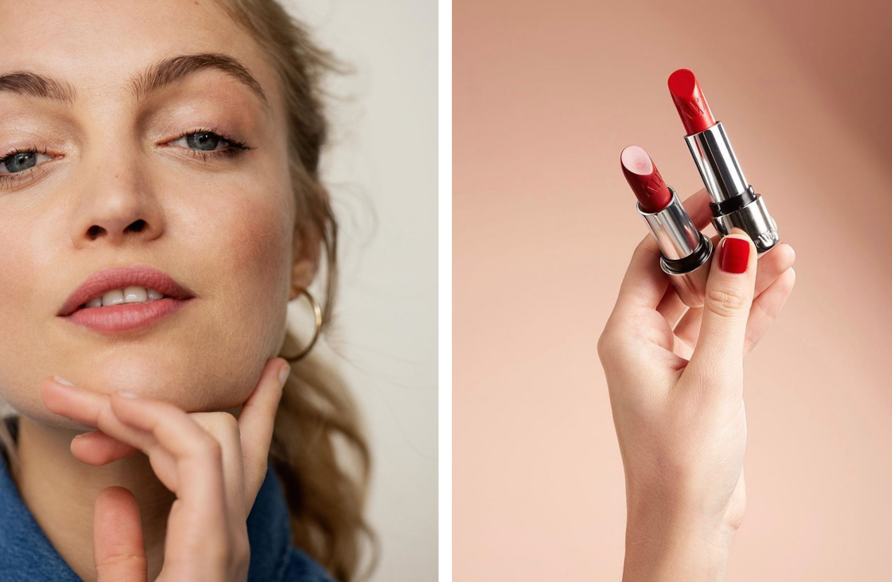 A blonde woman wearing barely-there natural makeup in Paris (left) and red lipsticks from 'clean' makeup store Oh My Cream in Paris (right).