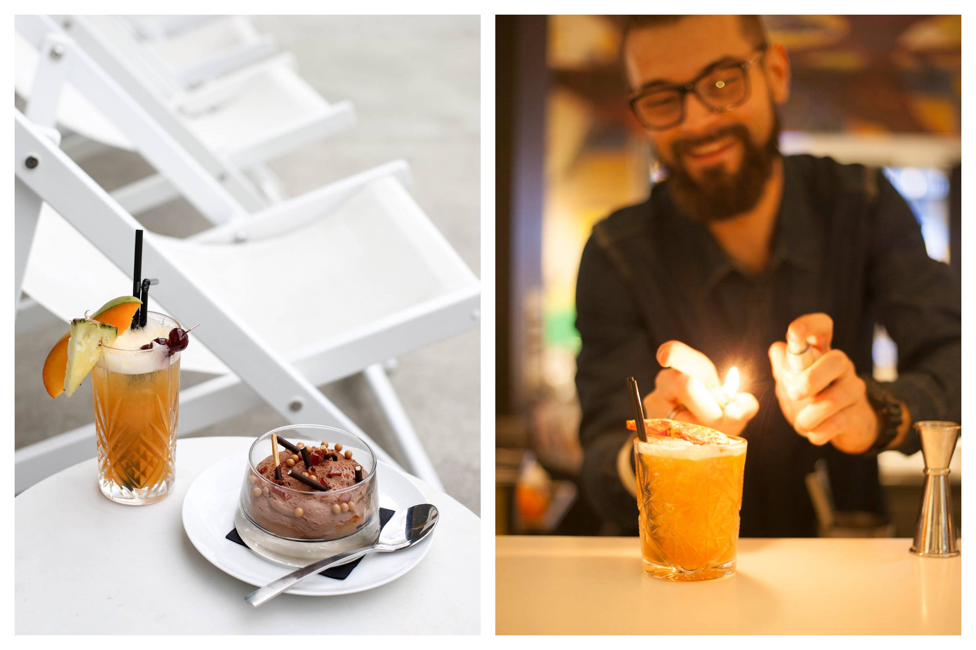 A cocktail and chocolate mousse dessert served by white deckchairs on the Molitor Hotel terrace in Paris (left) and the barman making a cocktail by lighting the top (right).