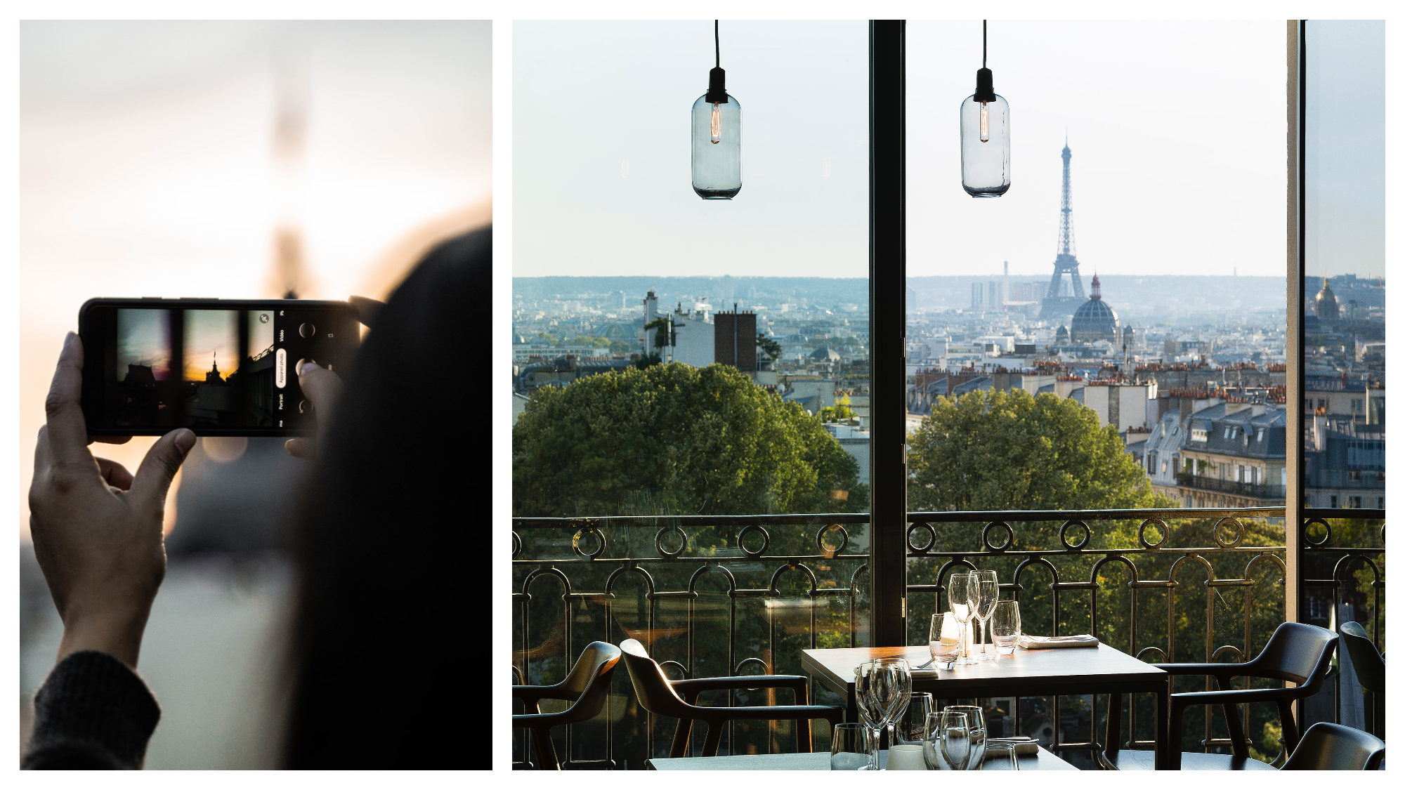 A woman taking a picture of a Paris view (left). The view of the Eiffel tower and the trees nearby from a table at the Terrass Hotel rooftop bar in Montmartre (right).