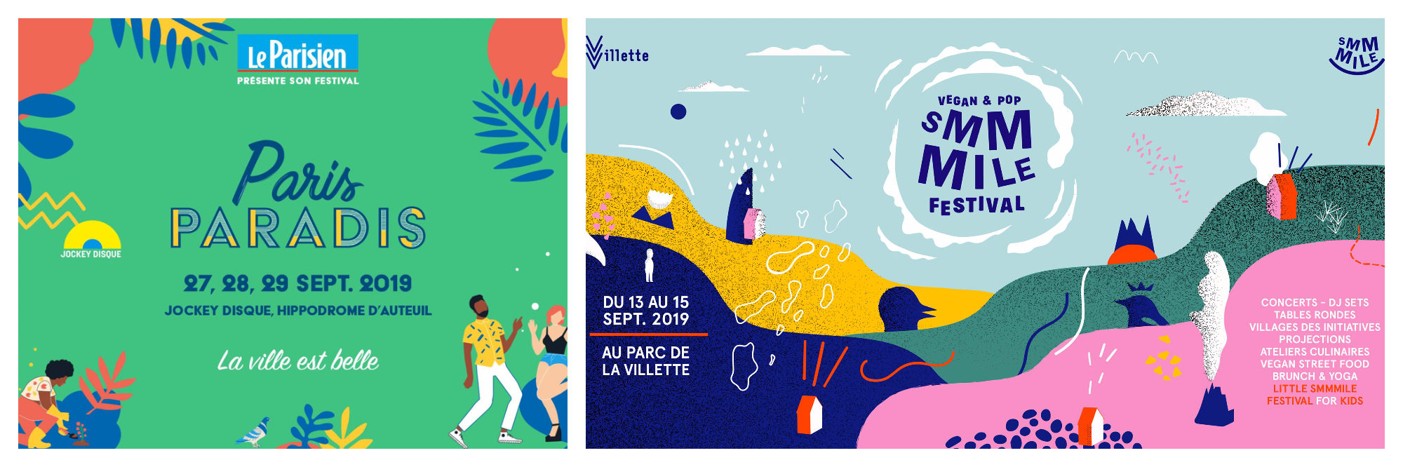 Illustrated posters for Paris Paradis and Smmmile music festivals.