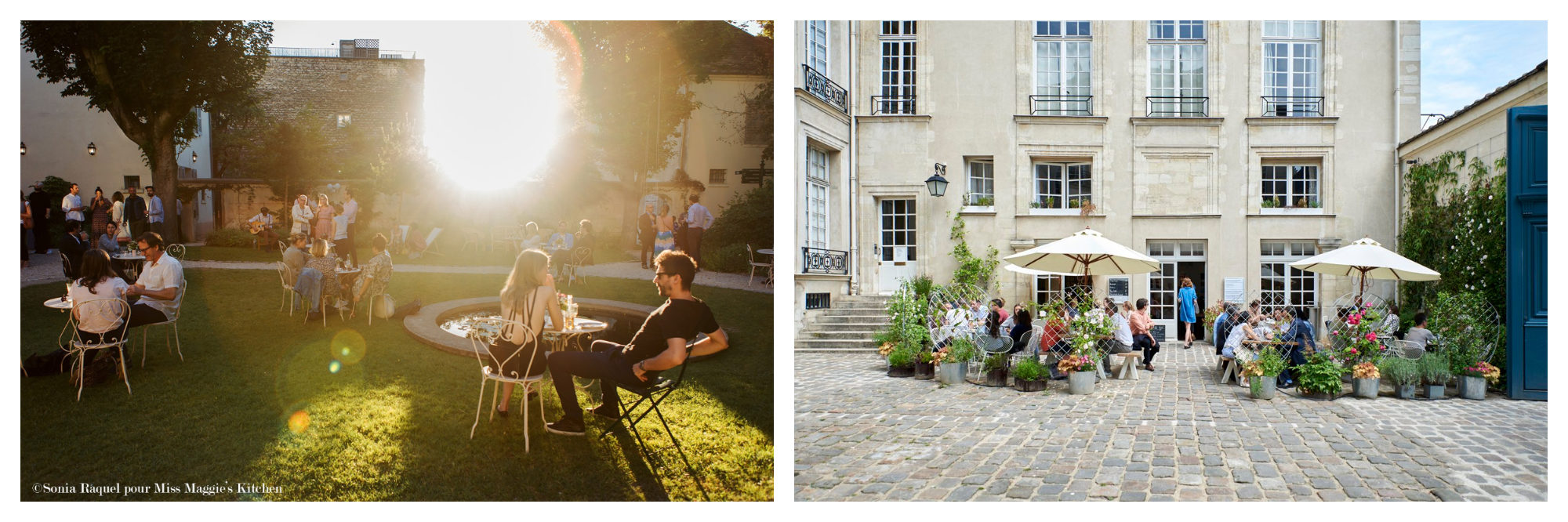 A garden with the sun shining and people sitting around tables in Paris. A Parisian courtyard with people sitting under around cafe tables
