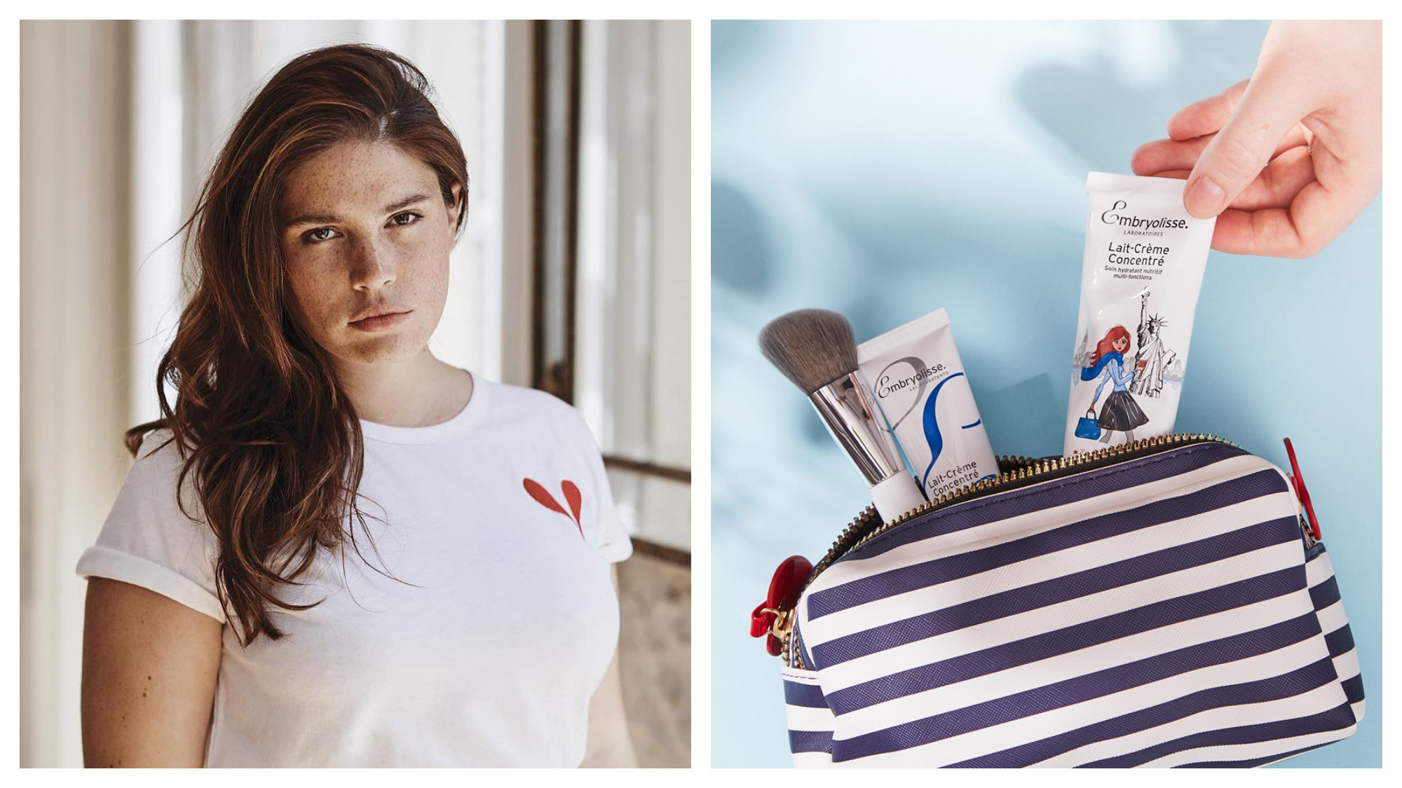 Girl with brown hair and white t-shirt with heart. Striped blue and white toiletry bag with makeup brush and Embryolisse cream