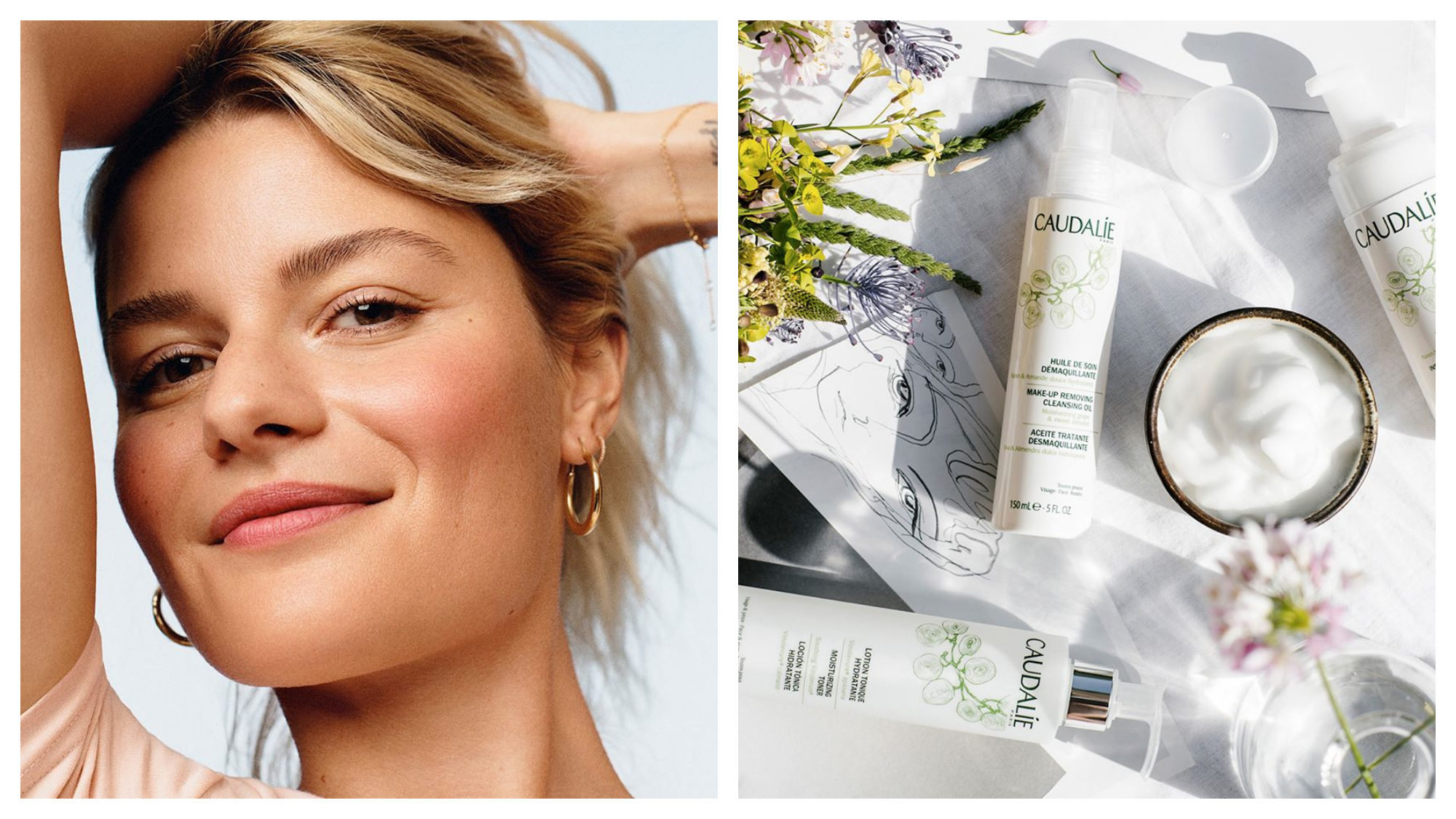 Girl with blonde hair, gold earrings and glowing skin. Caudalie products surrounded by flowers