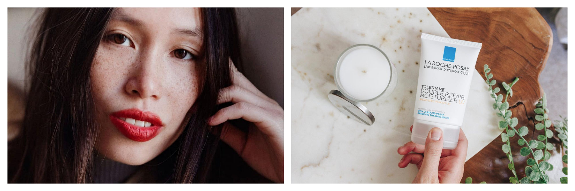 Girl with black hair, freckles and red lipstick. La Roche-Posay Toleriane Double Repair Moisturiser on wooden and marble table with leaves
