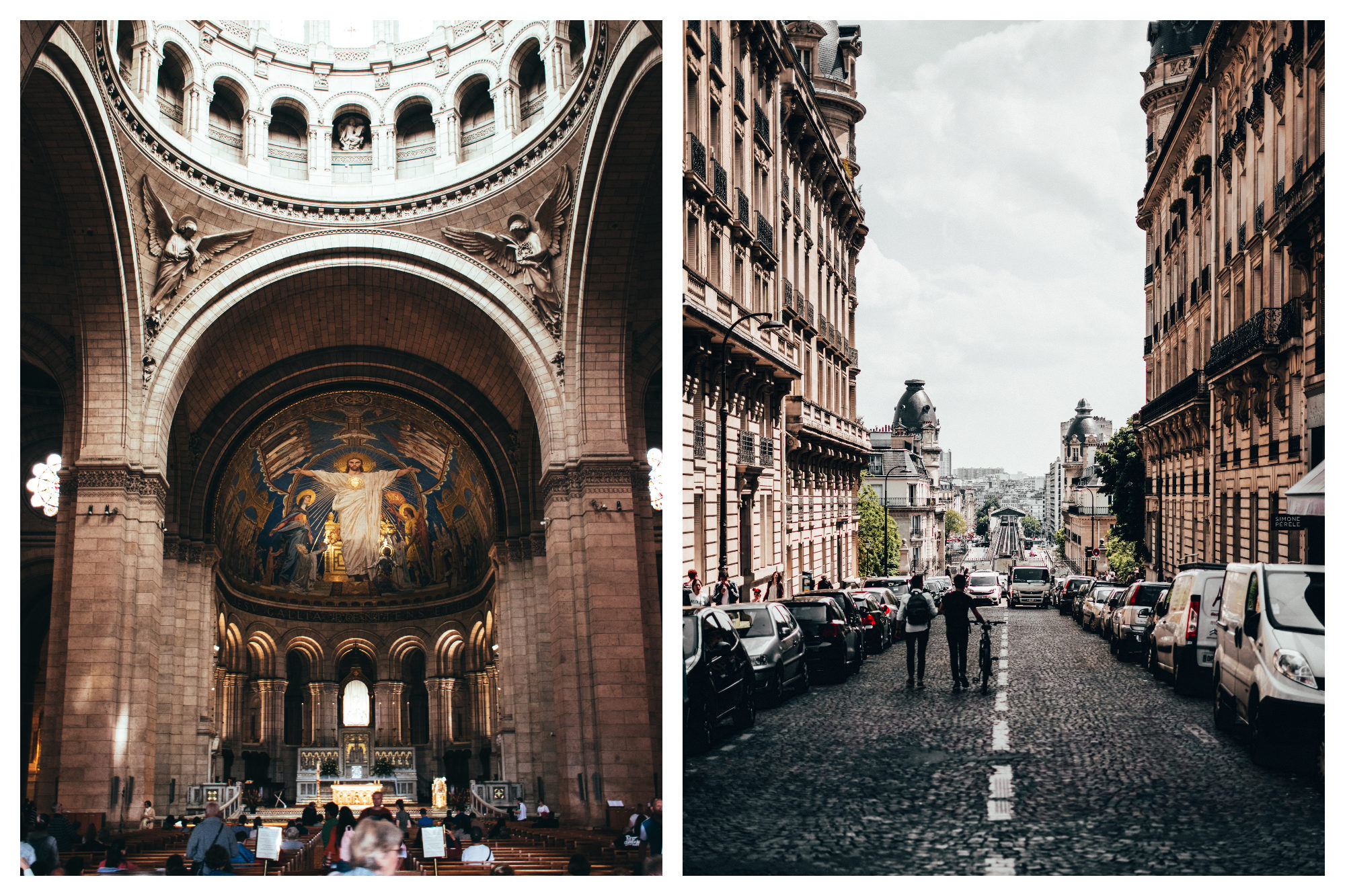 Inside a Paris church with a fresco of Jesus painted on the entire back wall (left). Cobblestone streets of Paris and two people walking along (right).