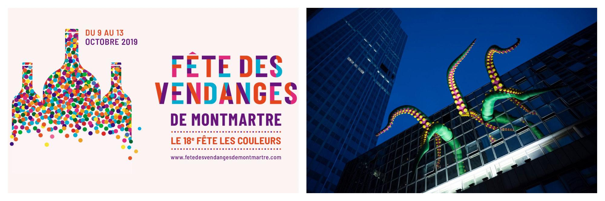 A poster for the Fete des Vendanges (grape harvest) in Montmartre (left). Green tentacles peeking out of a building during Paris's Nuit Blanche art festival (right).