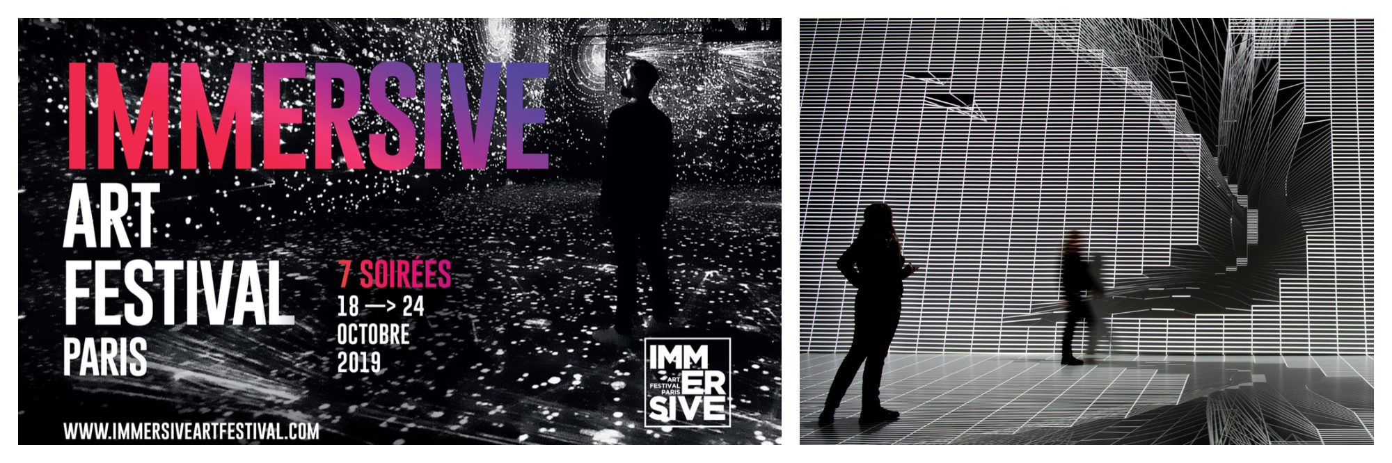 A poster for the Immersive Art Festival at the Atelier Lumières in Paris this October (left). An immersive light and sound show (right).