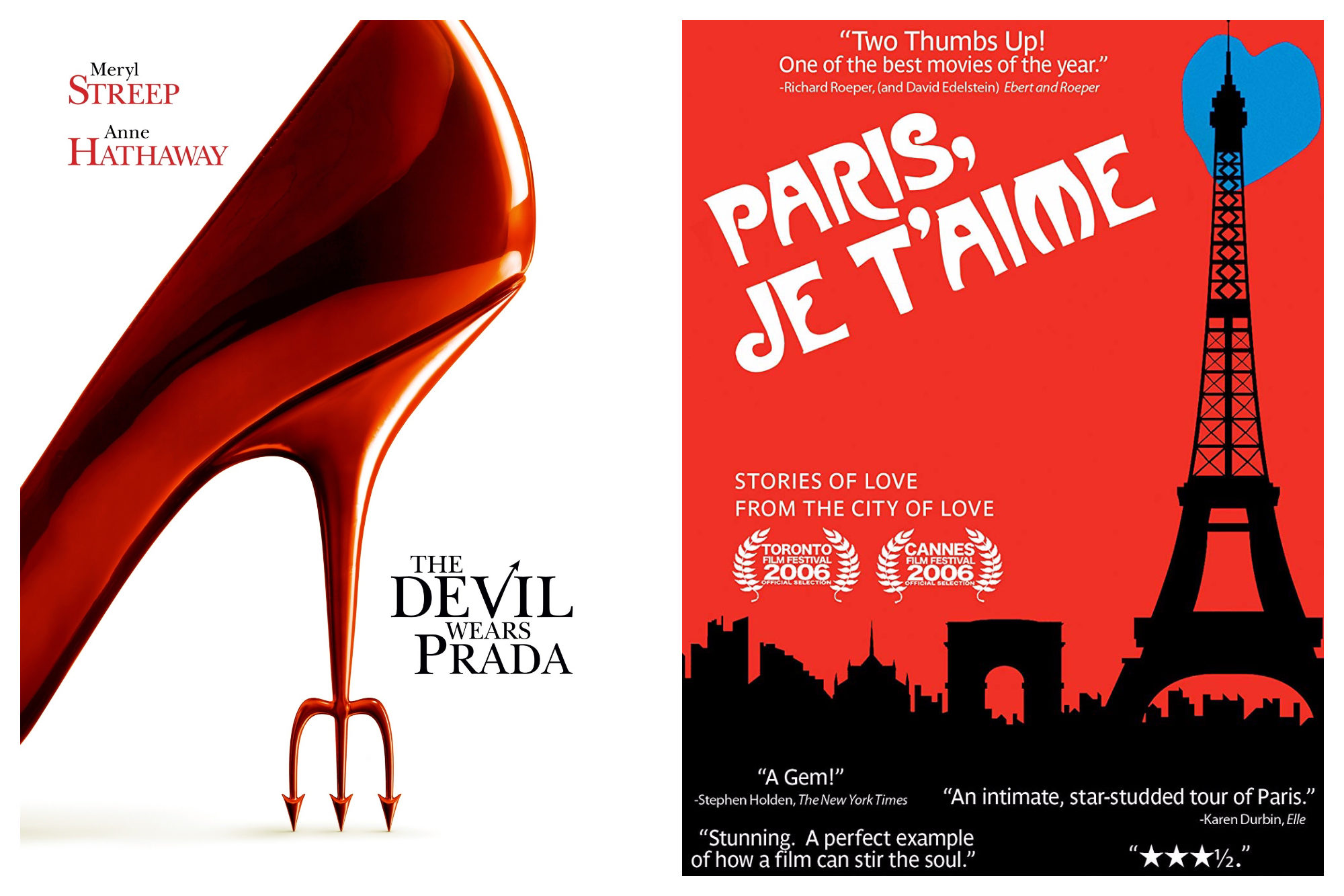 """A poster for the movie """"The Devil Wears Prada"""" (left) and a poster for the collection of short films """"Paris, Je t'Aime."""""""