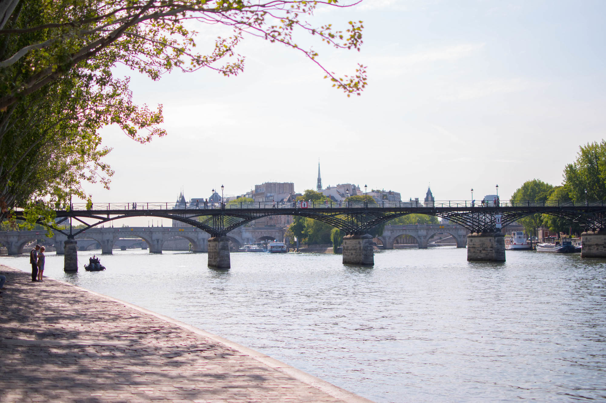 The Pont des Arts, a famed bridge in Paris, mainly known for where where the love lock trend started, with Notre Dame's spire peeking out from behind.
