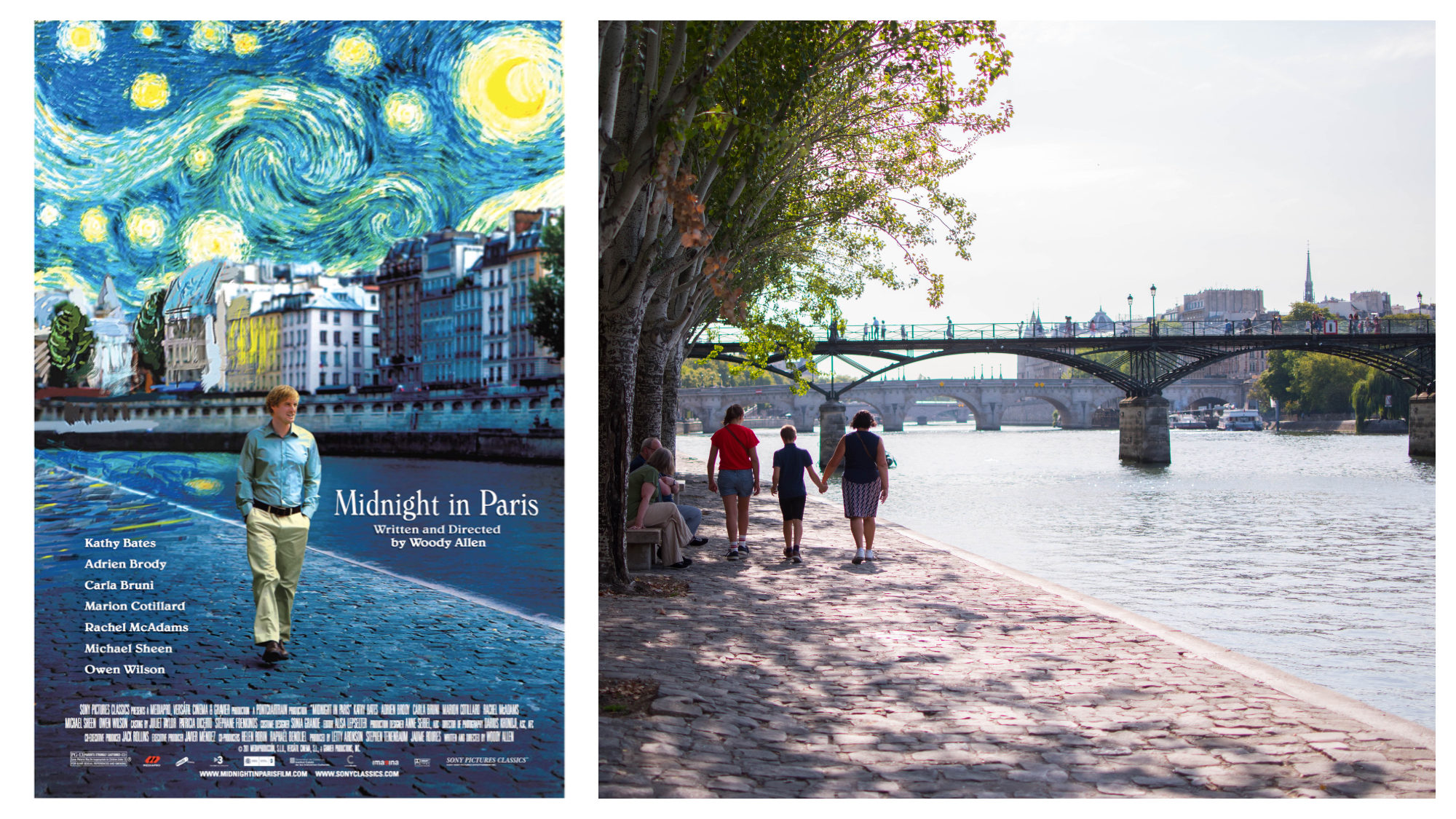 """A poster for the movie """"Midnight in Paris"""" (left). Three people strolling along the cobblestone banks of the River Seine in the sun (right)."""