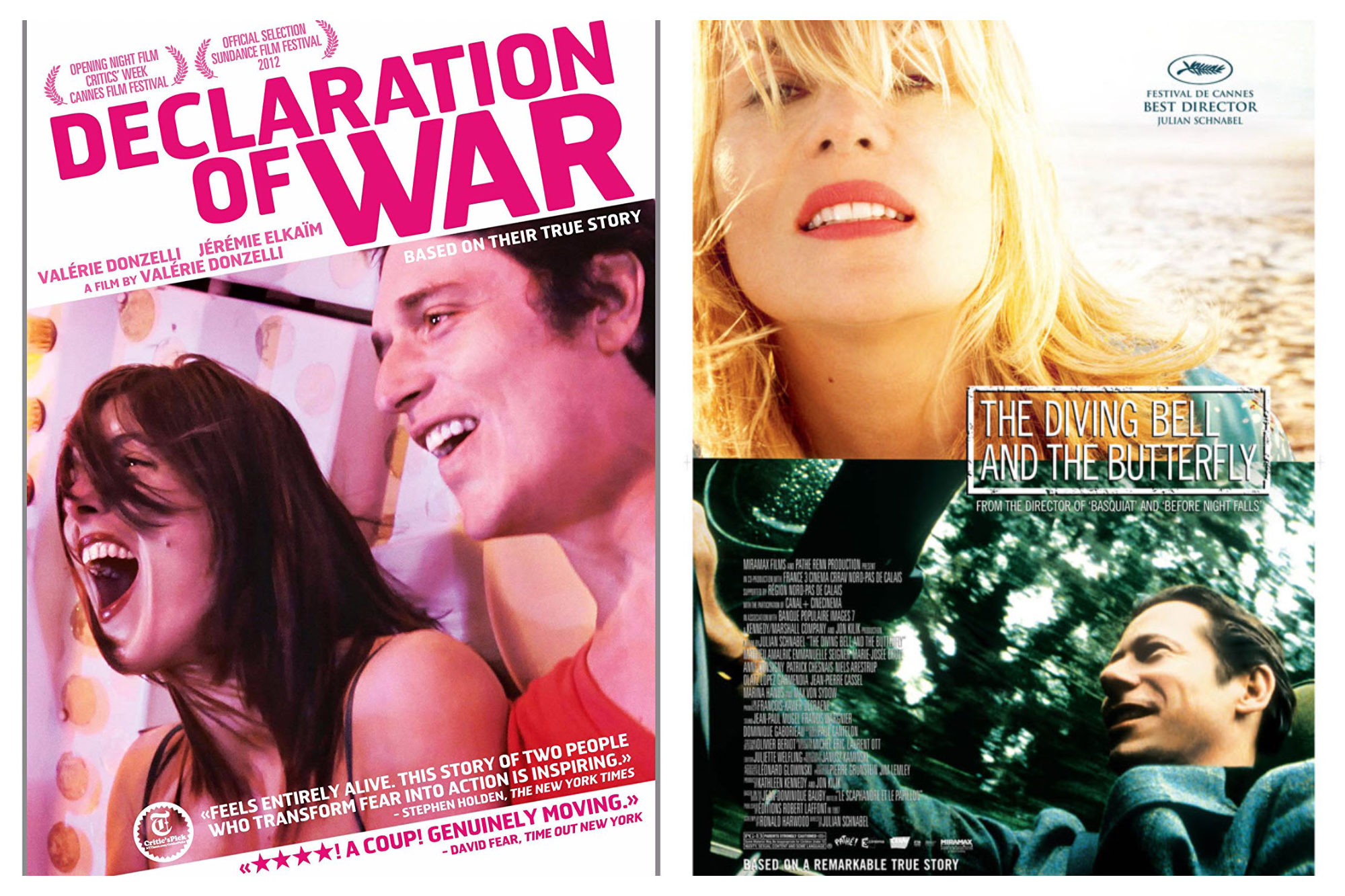 A poster for the French Netflix movie 'Declaration of War' with a man and woman on a fairground ride (left). The poster for the movie 'The Diving Bell and the Butterfly', with a blonde woman in the top half of the poster and man wiling, driving on the bottom (right).