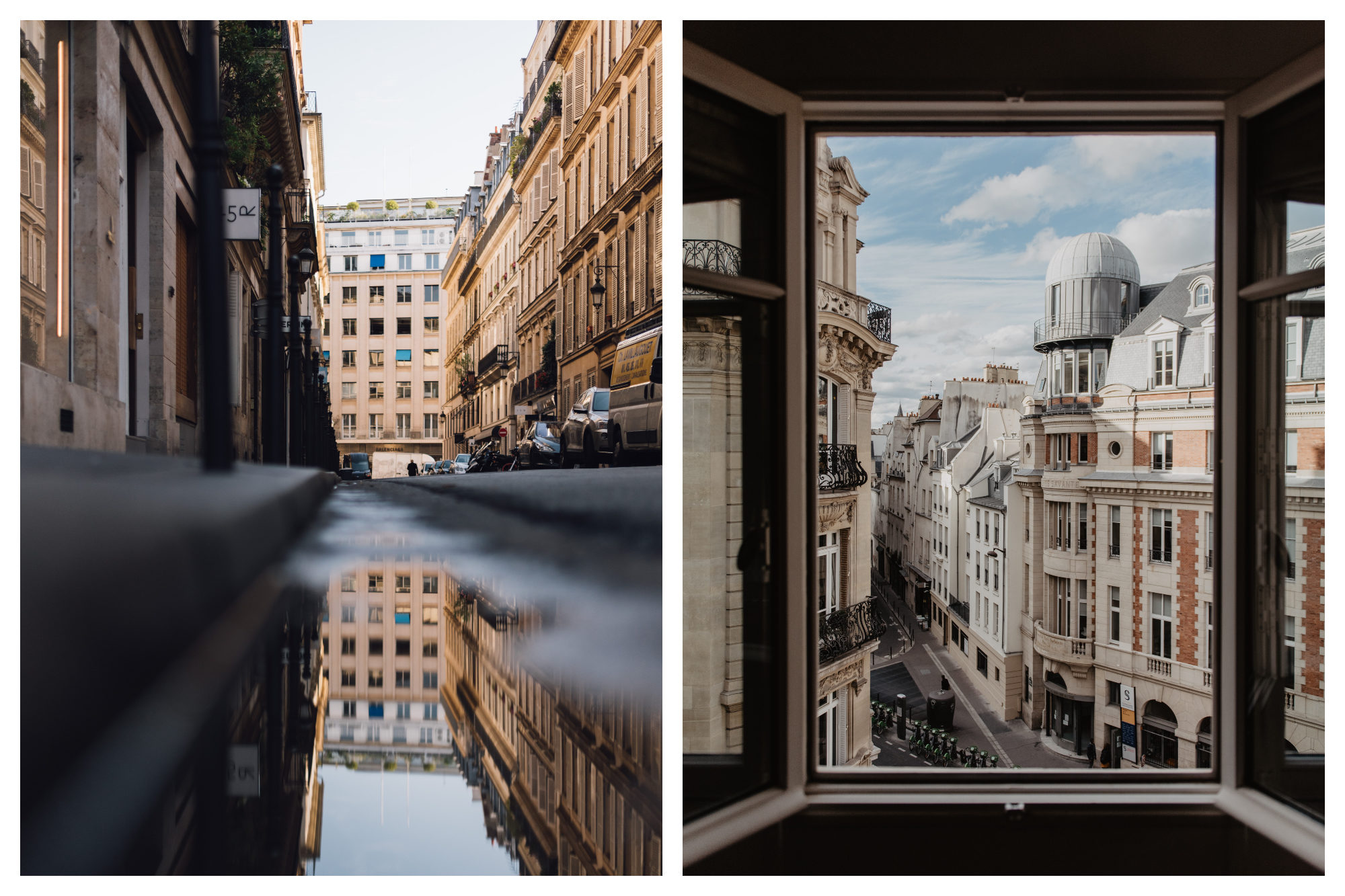 The reflection of a Parisian stone building in a puddle (left). The view of a street lined by honey-colored stone buildings in Paris through an open window (right).