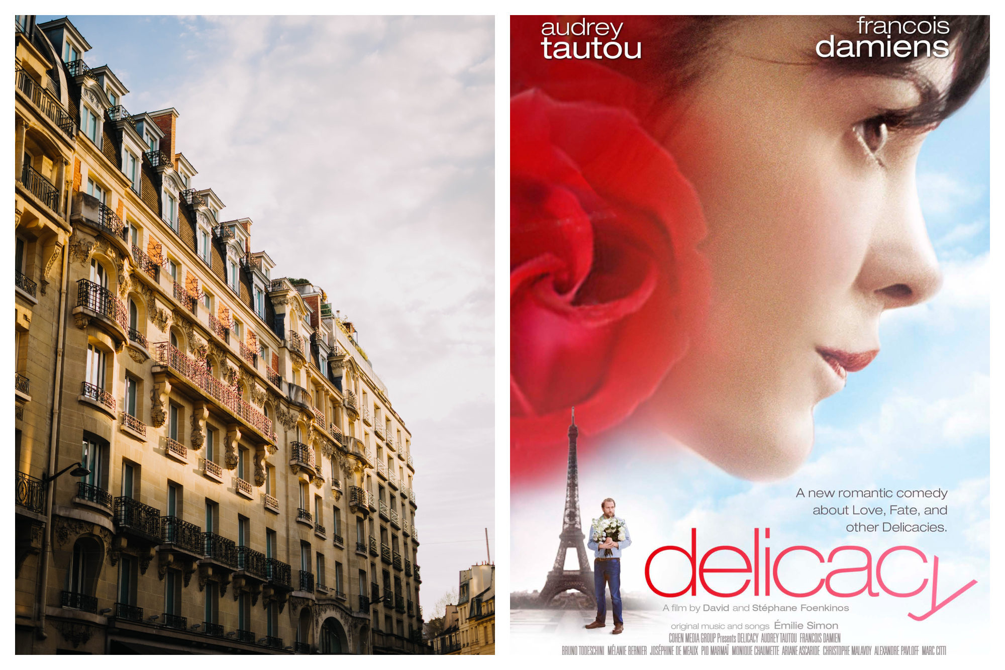 The sunshine hitting a stone building in Paris (left). A poster for the French Netflix movie 'Delicacy' with a photo of Audrey Tautou and the Eiffel Tower  (right).