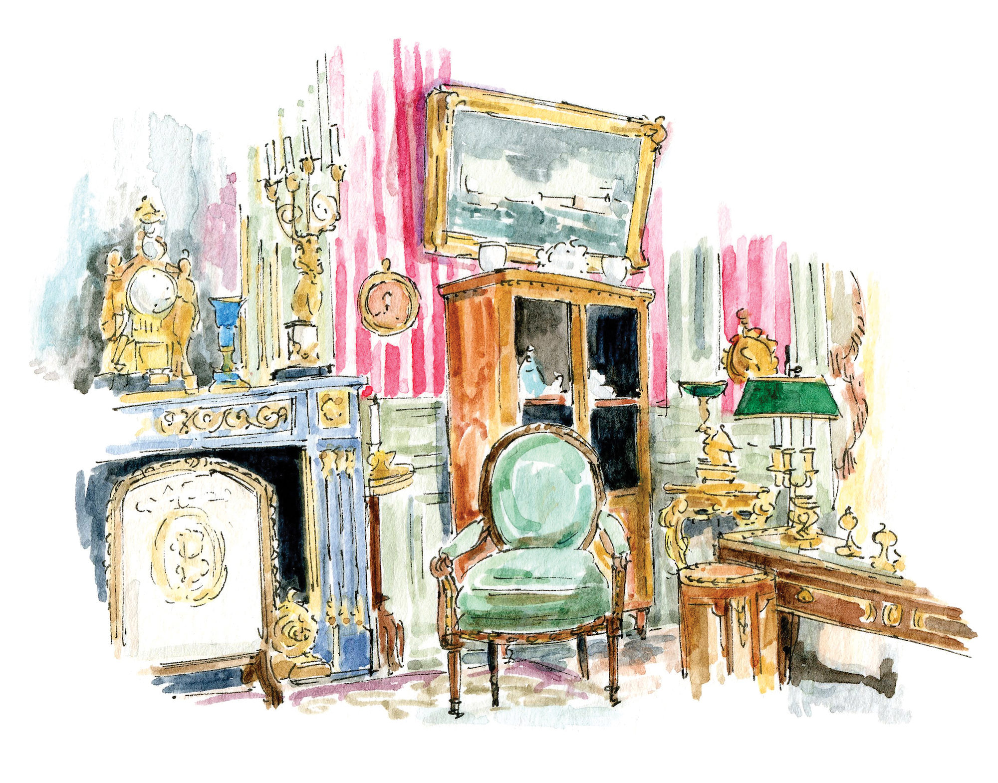 A sketch of a Paris museum from illustrator Emma Jacobs' book Little(r) Museums of Paris.