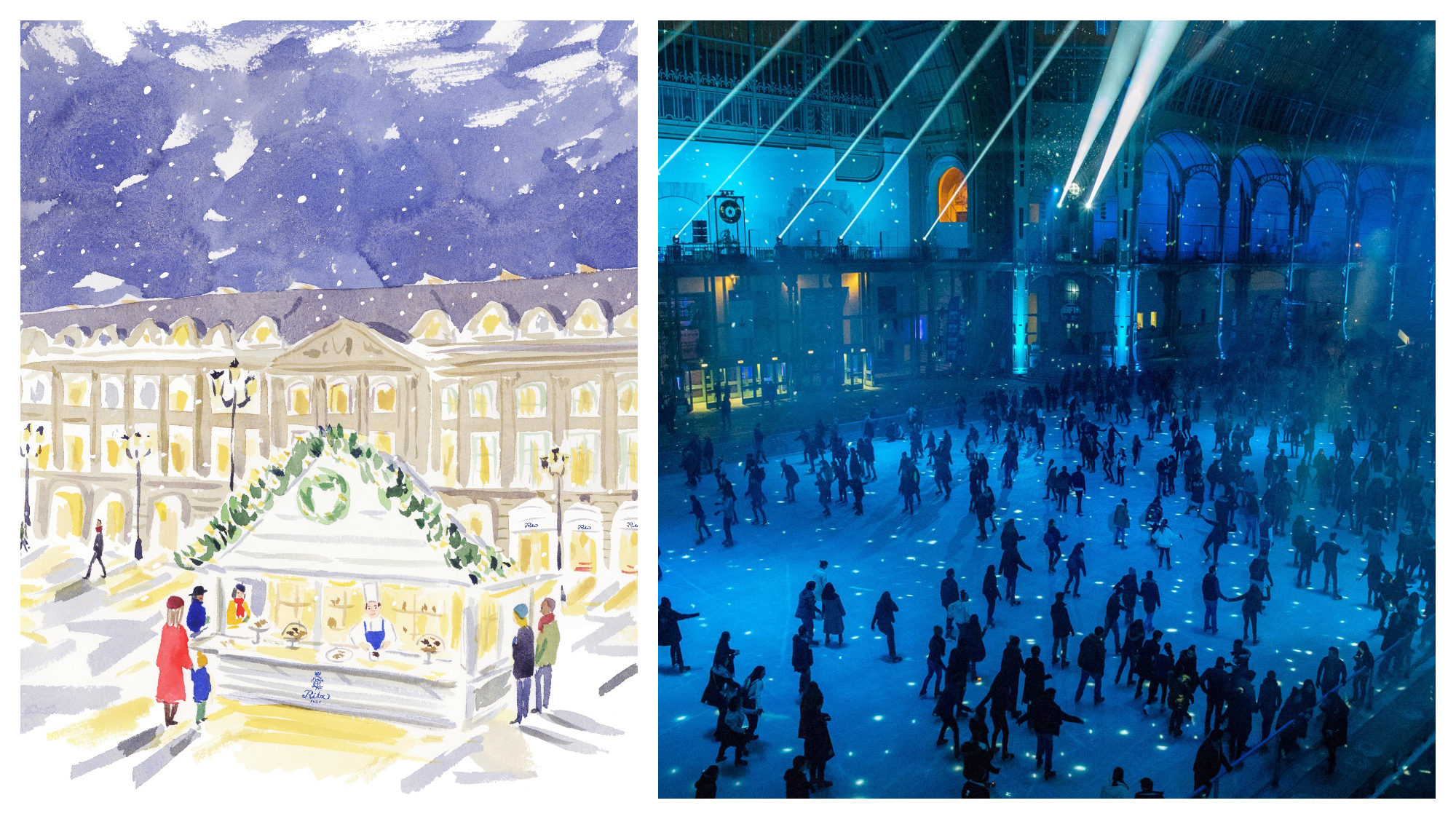 A watercolor painting of the Christmas chalet outside the Ritz Hotel in Paris (left). The ice rink at the Grand Palais, lit in electric blue (right).