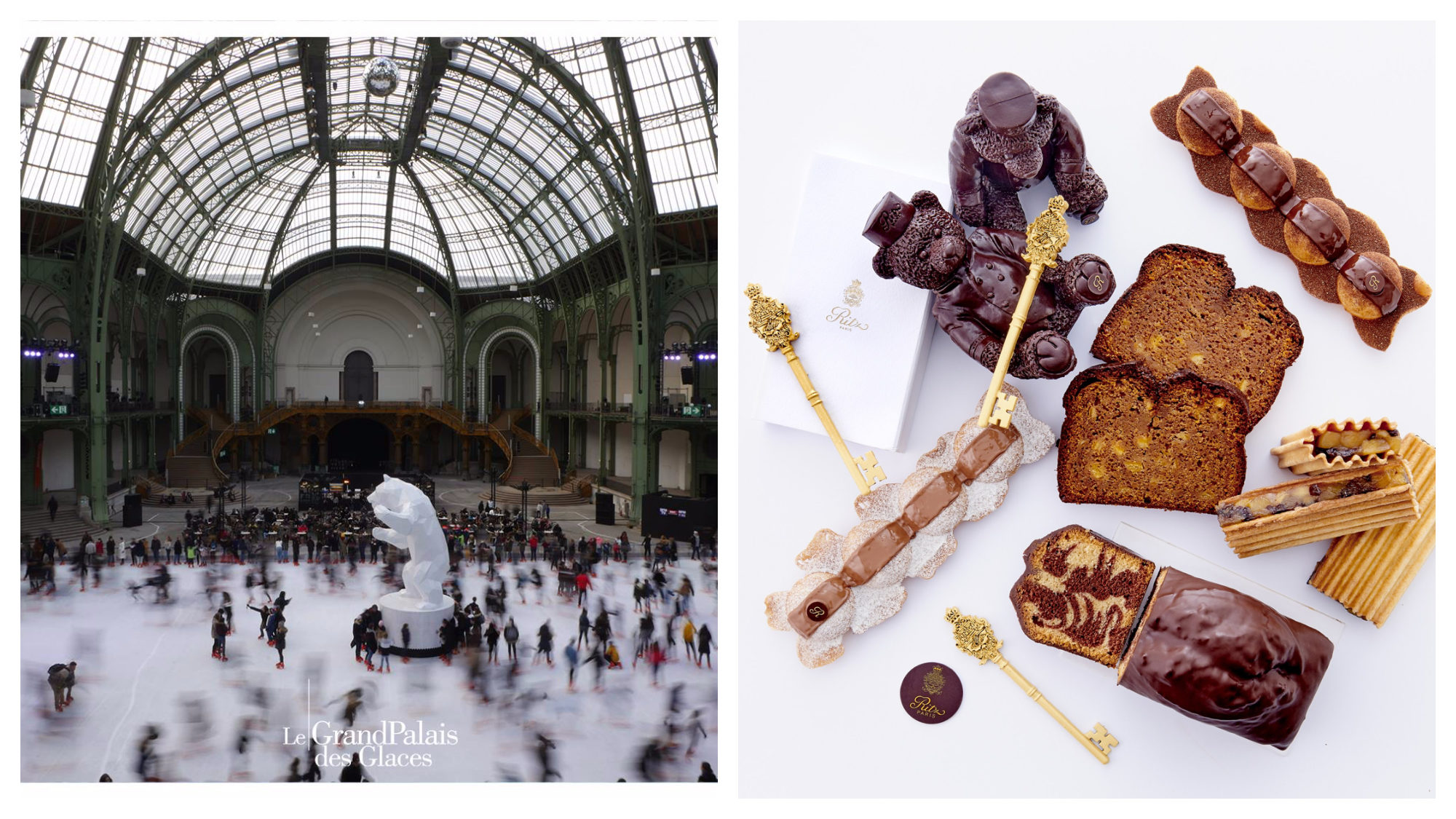 A daylight scene from the Grand Palais ice rink in December in Paris under the glass nave (left). A top-shot of chocolates, cakes, and patisseries for Christmas at the Ritz Hotel (right).