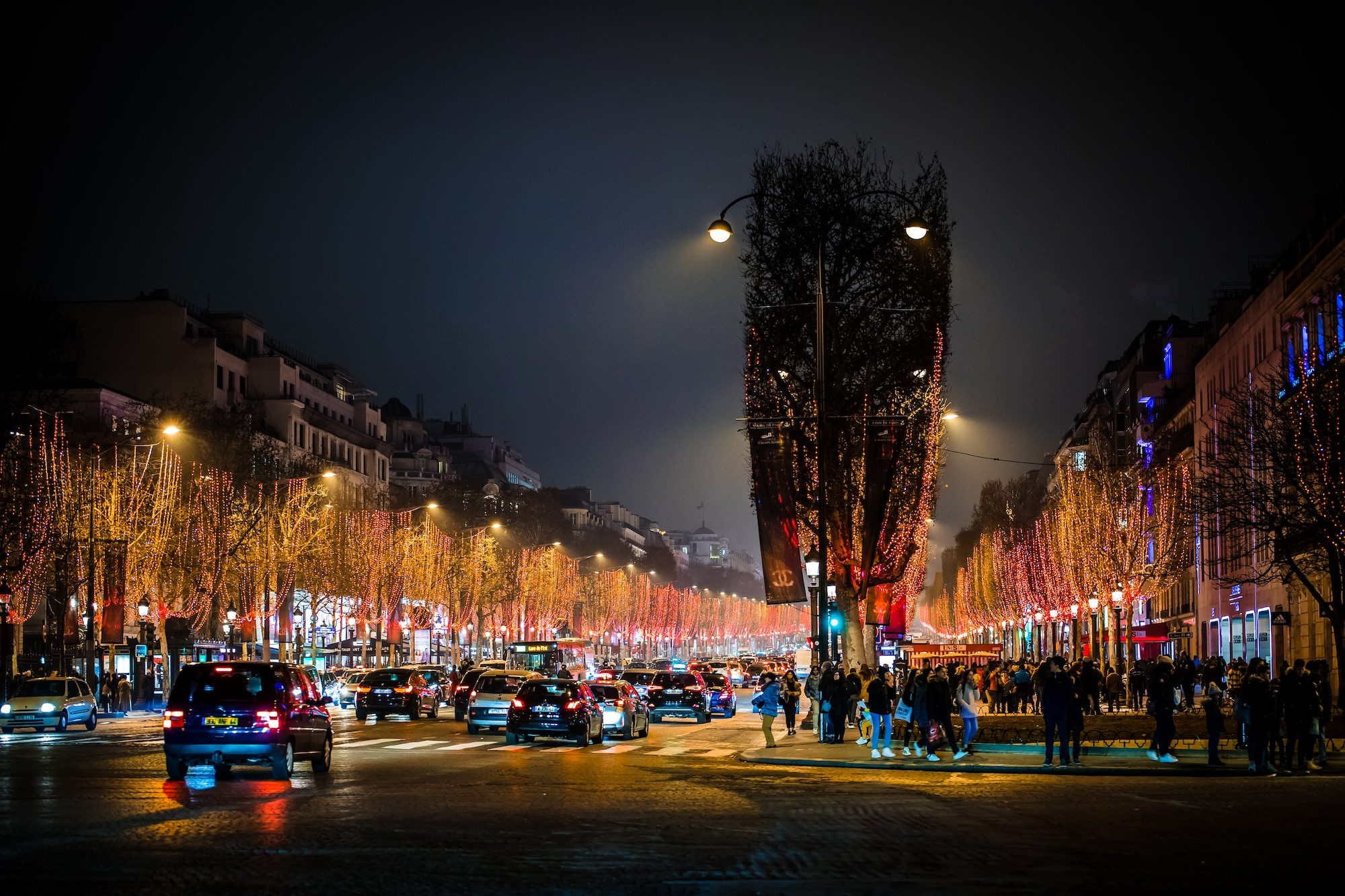 A night scene of the Champs Elysées with its Christmas lights.