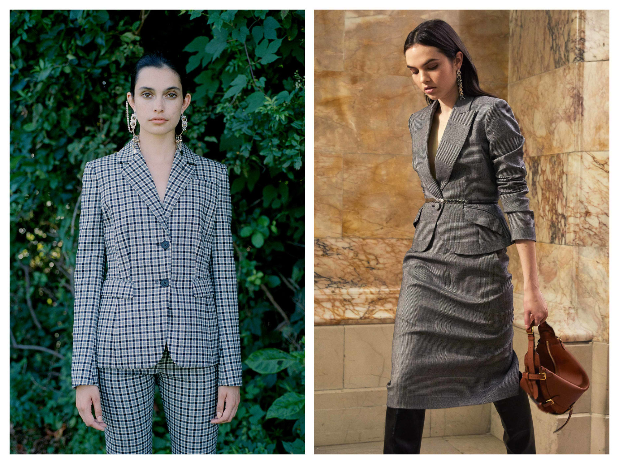 Chequered suits (left) and blazer-and-skirts (right) are this winter's fashion trend from Paris Fashion Week.