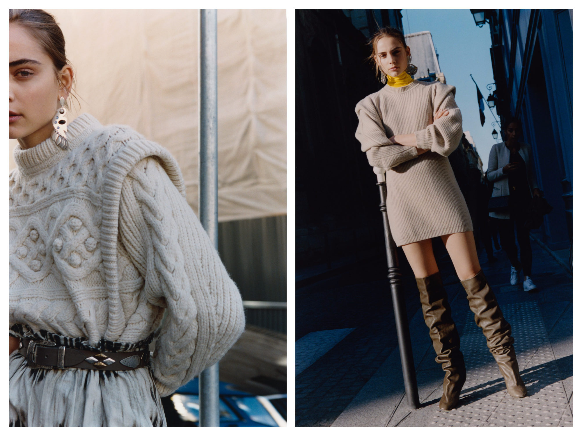 Chunky jumper held in by a belt (left) and maxi-dress with slouchy boots (right) are this winter's fashion looks from Paris.
