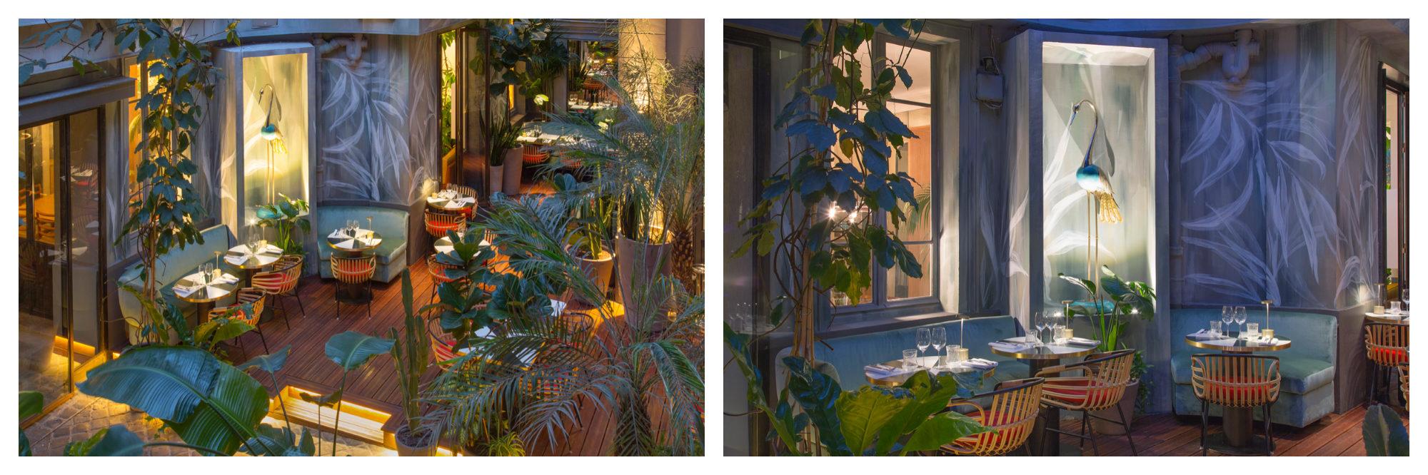 The indoor sinter garden at Klay restaurant in Paris is a favorite place to eat in winter.