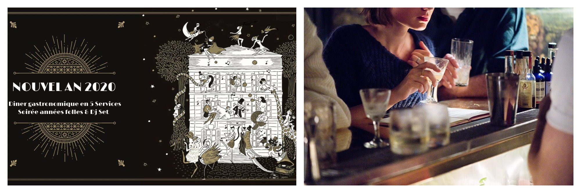 A promotional poster for the Nouvel An 2020 event at Hotel Particulier (left). A woman ordering a drink at a bar (right).