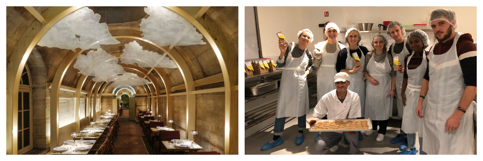The vaulted interior of a restaurant with floating cloud artworks hanging from the roof (left). A group of people  dressed in chef whites in a kitchen holding a tray of cookies (right).