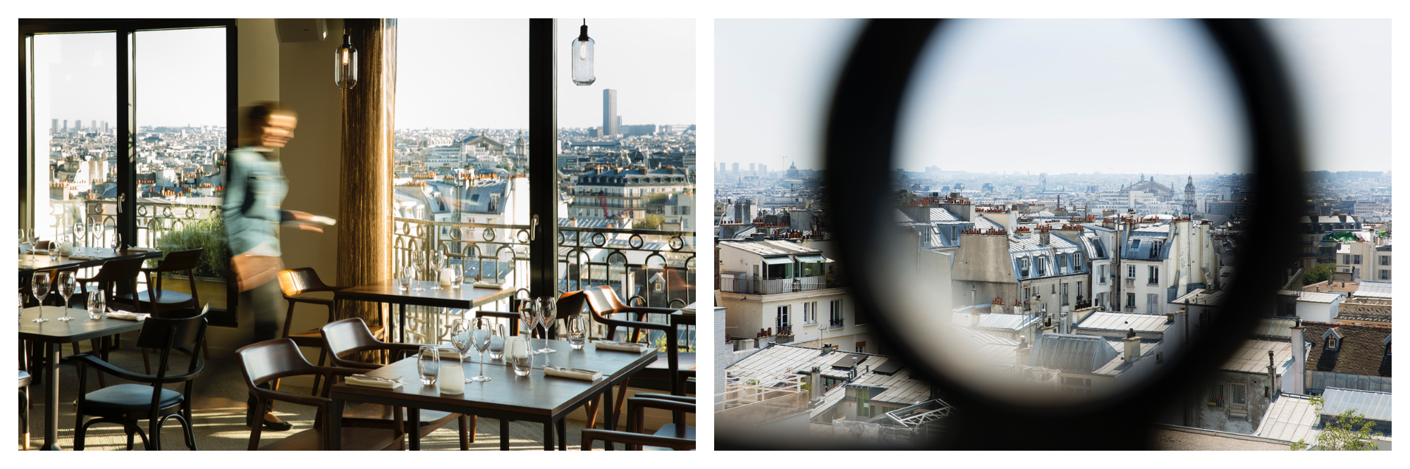 The interior of a restaurant with the blurred figure of a waiter. A view of Paris outside the windows (left). A view of Paris through a wrought iron balcony (right).