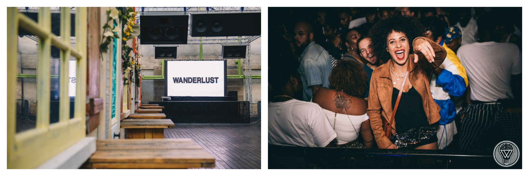 An empty dance floor with a TV screen with the words Wanderlust on it and speakers above (left). A woman pointing at the photographer and smiling on the dance floor of a night club (right).